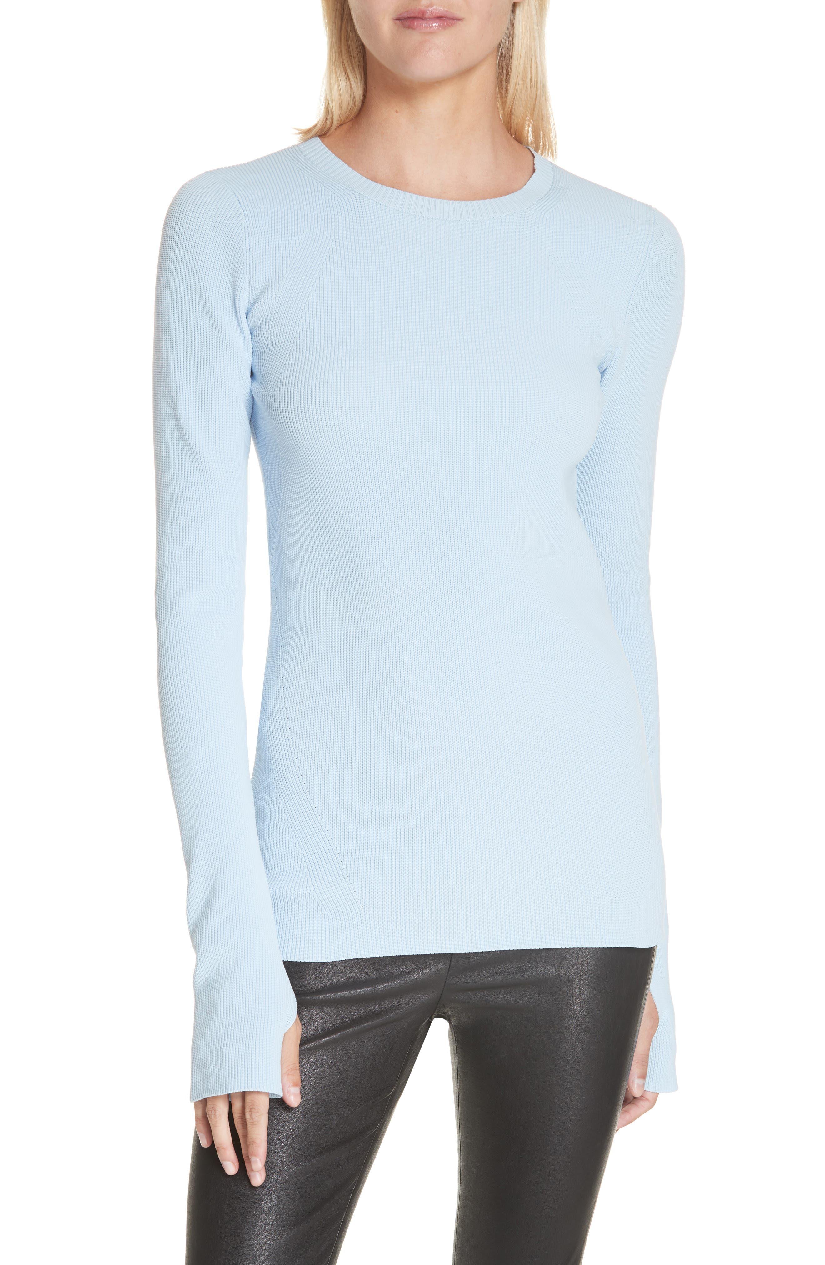 HELMUT LANG Crewneck Sweater, Main, color, LIGHT WAVE