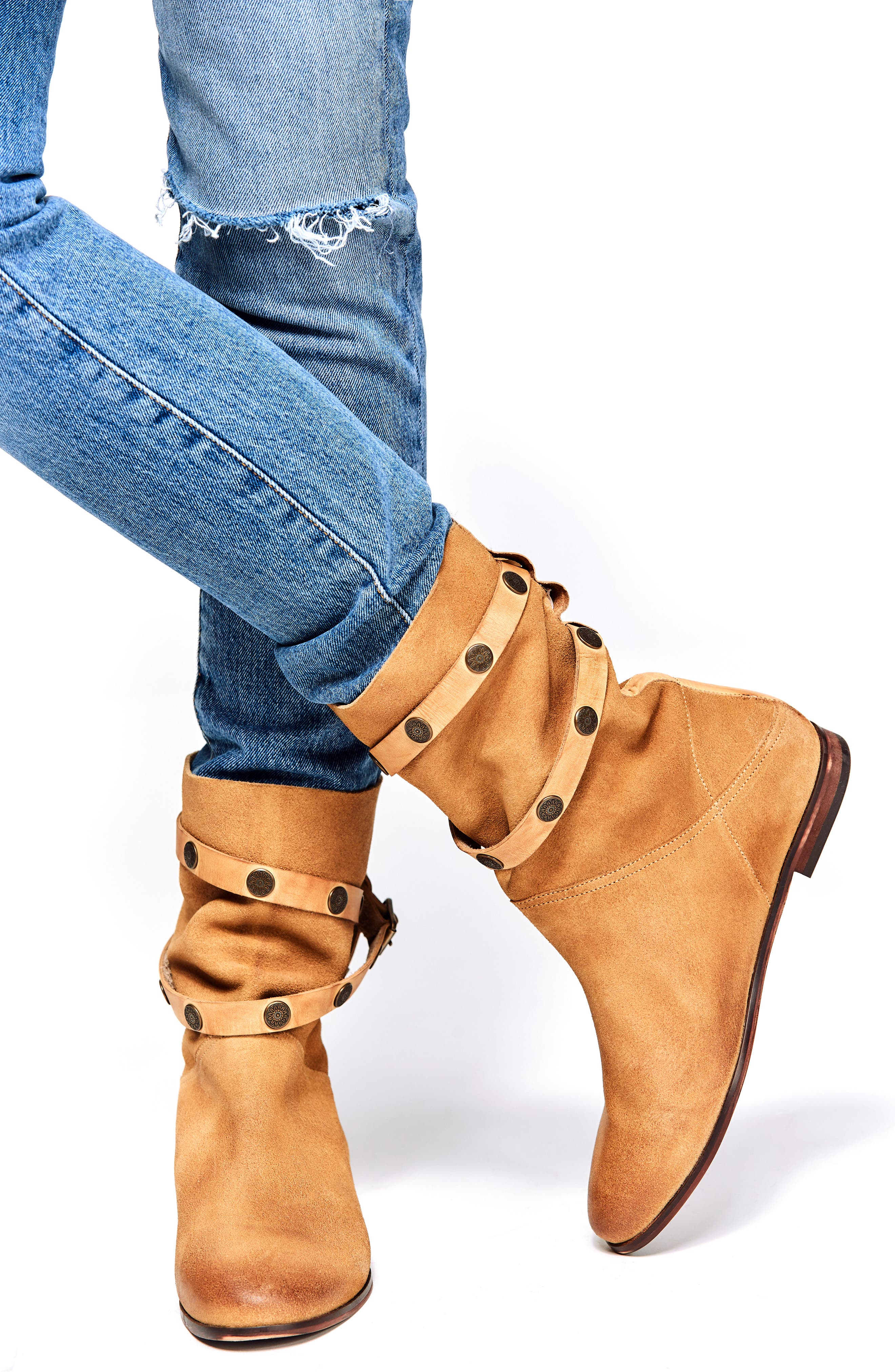 FREE PEOPLE, Hayden Buckle Strap Boot, Alternate thumbnail 7, color, SAND SUEDE
