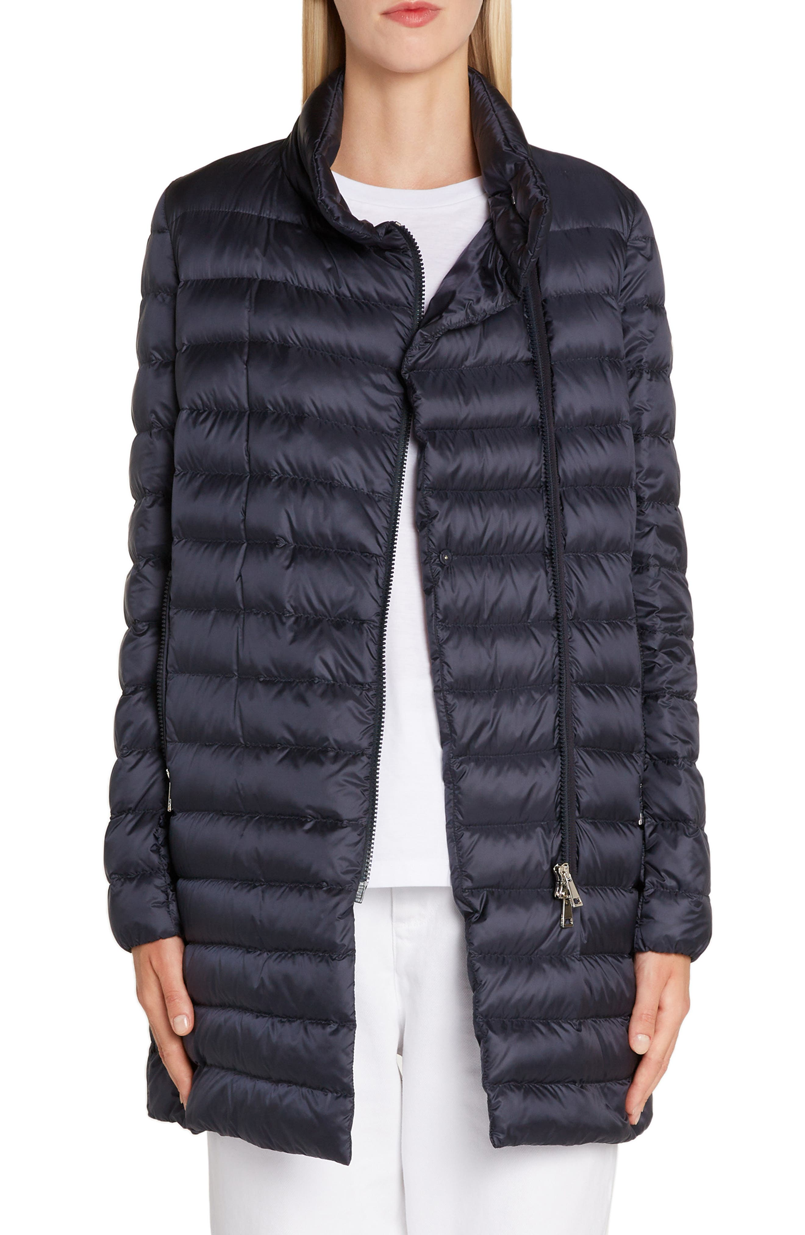 MONCLER, Quilted Down Coat, Main thumbnail 1, color, NAVY
