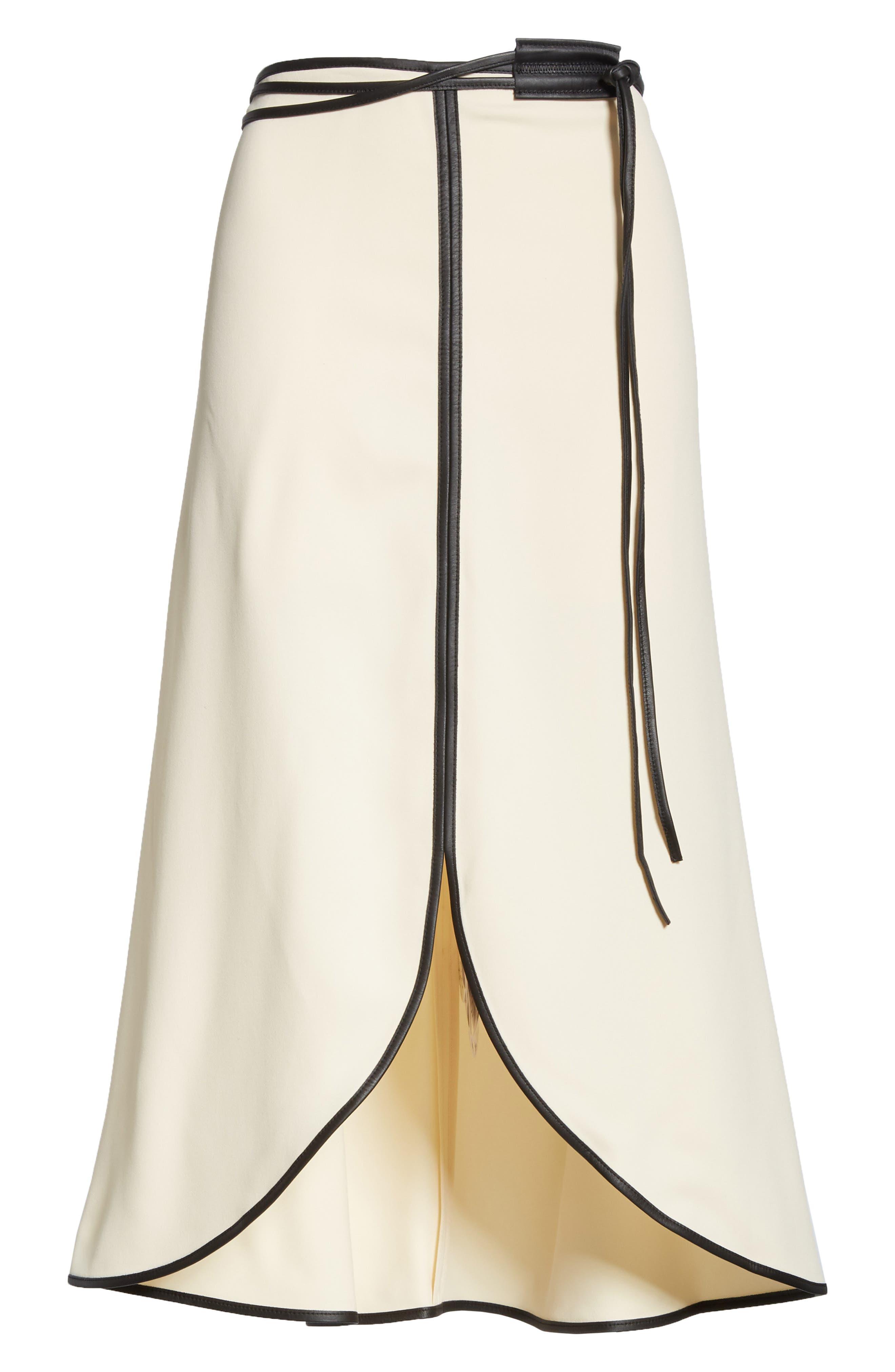 VICTORIA BECKHAM, Leather Trim Midi Skirt, Alternate thumbnail 6, color, MILK/ BLACK