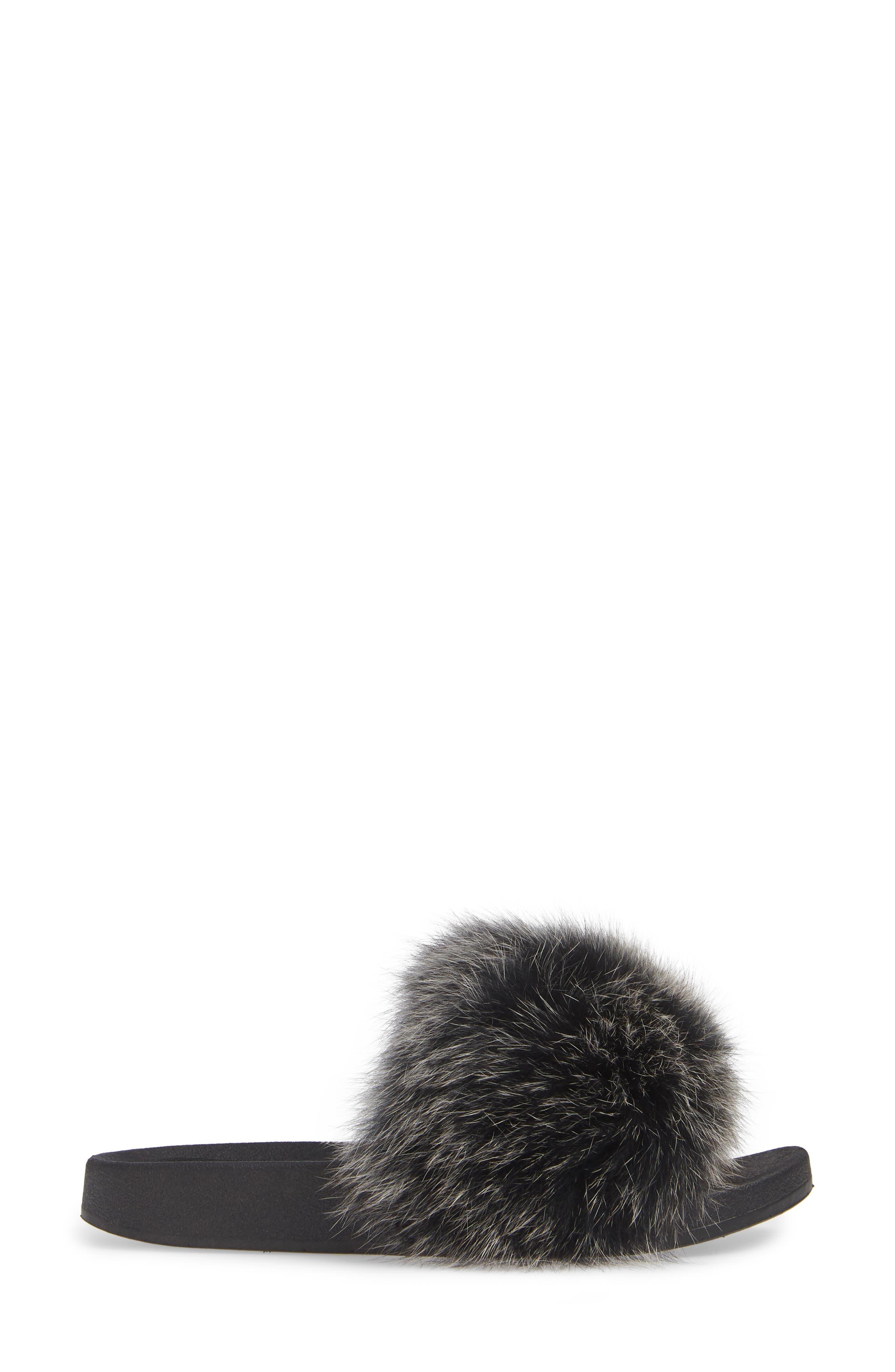 PATRICIA GREEN, Foxy Genuine Fox Fur Slipper, Alternate thumbnail 3, color, BLACK/ WHITE FUR