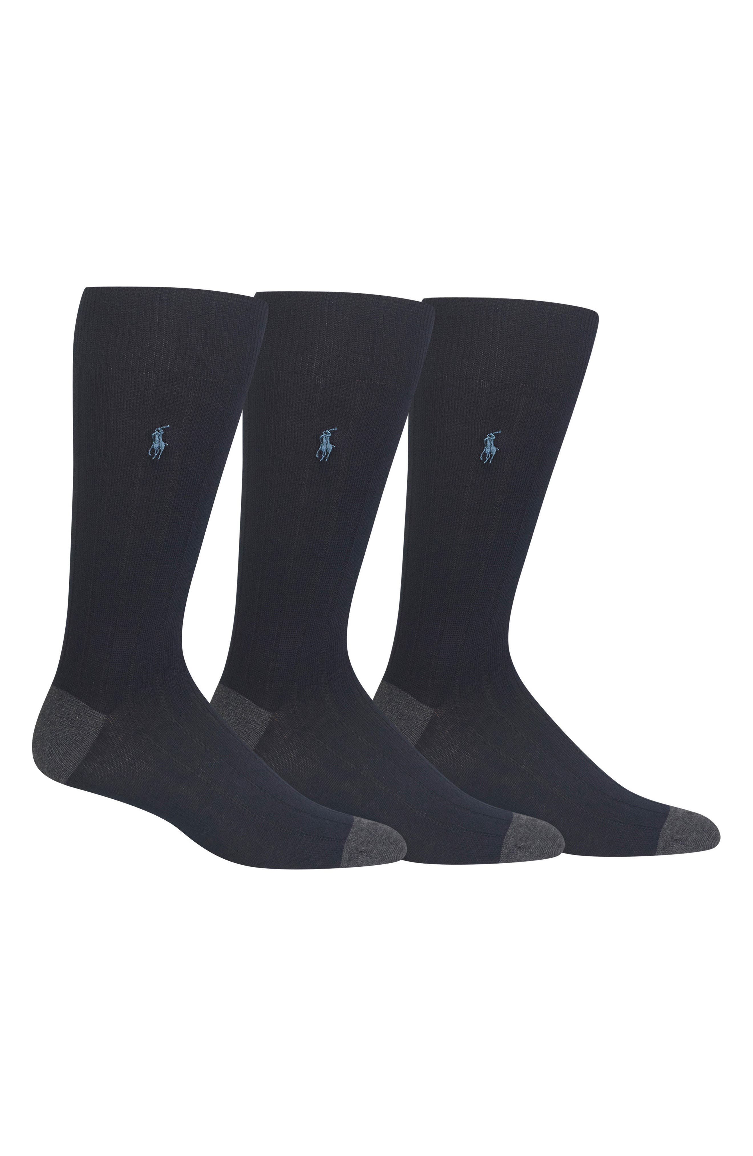 POLO RALPH LAUREN 3-Pack Ribbed Socks, Main, color, NAVY