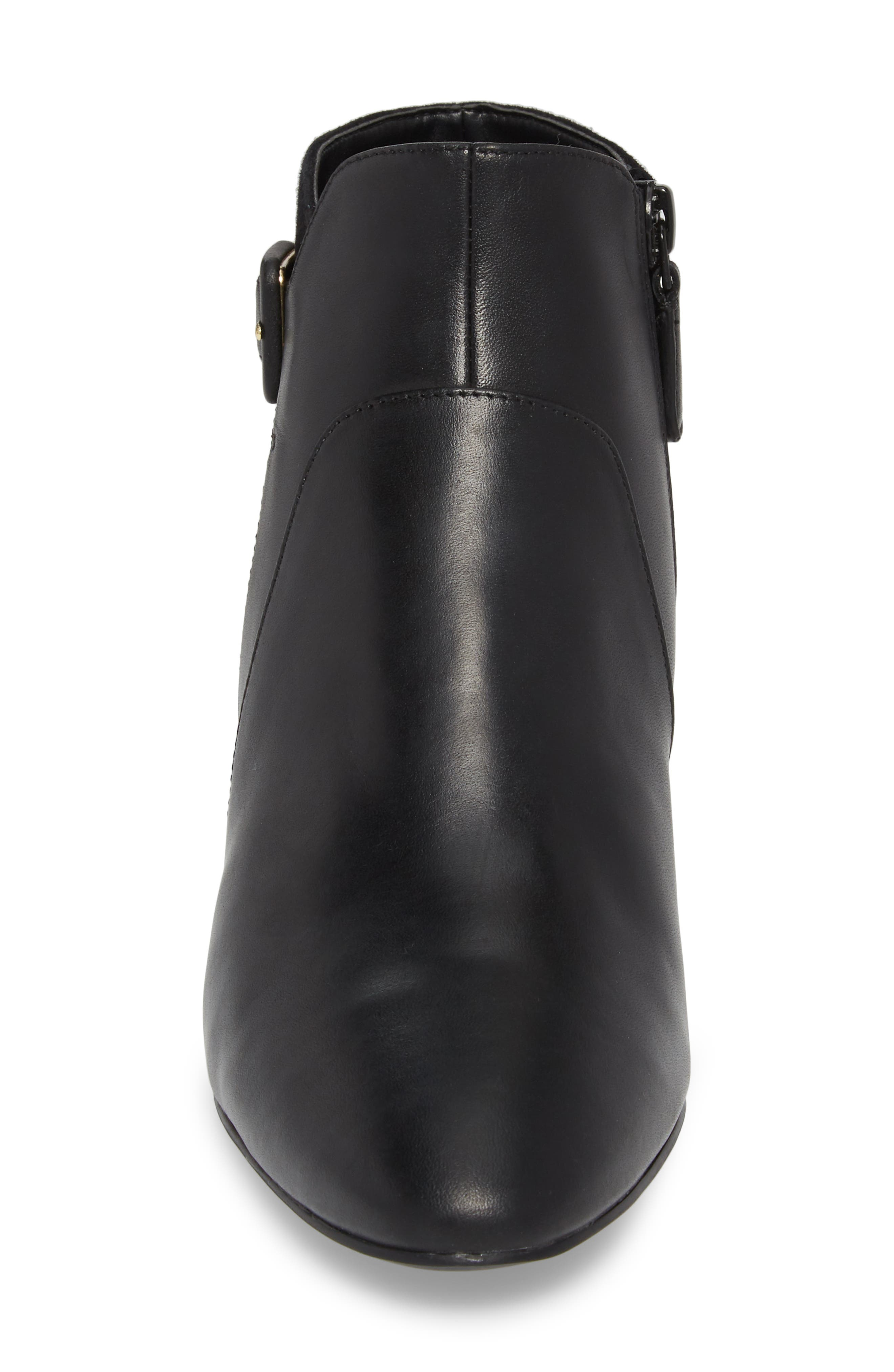 COLE HAAN, Sylvia Waterproof Bootie, Alternate thumbnail 4, color, BLACK LEATHER