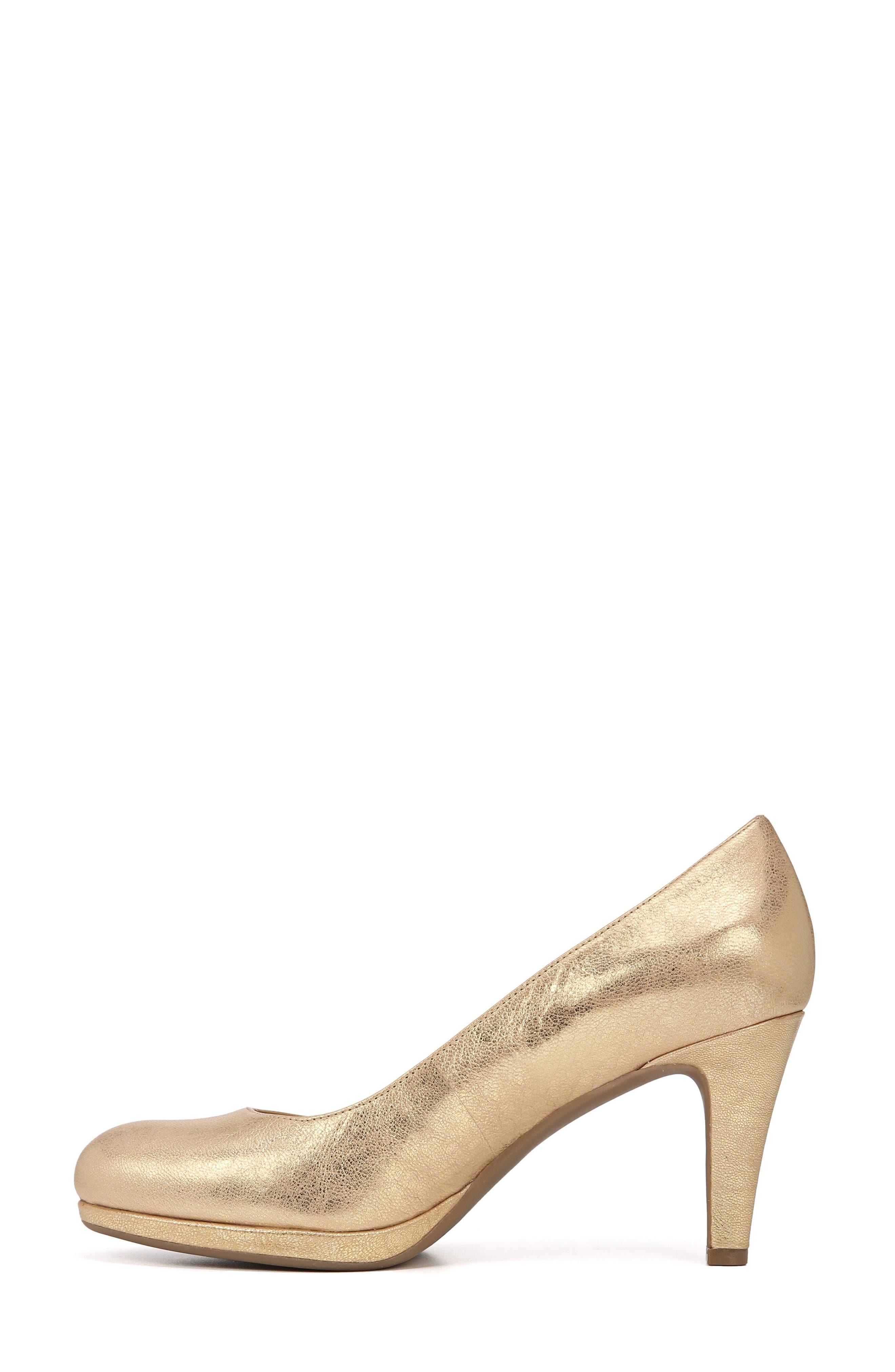 NATURALIZER, 'Michelle' Almond Toe Pump, Alternate thumbnail 8, color, GOLD LEATHER