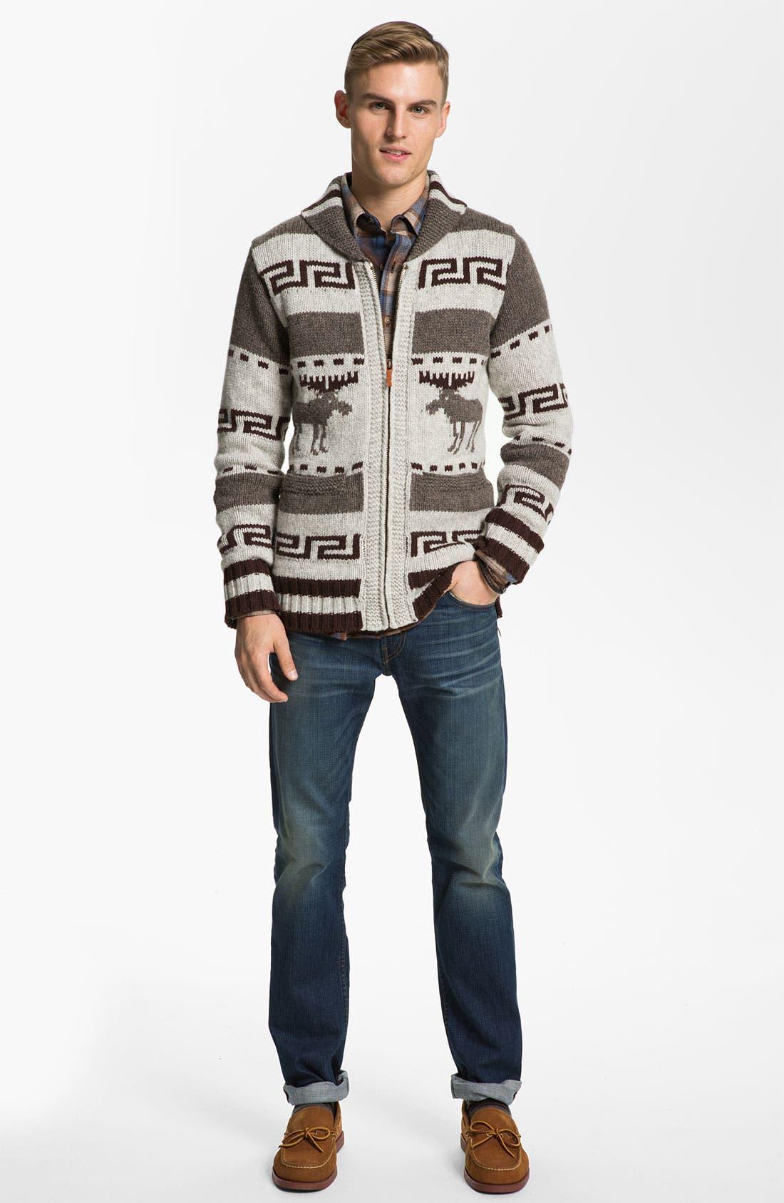 NUDIE JEANS, Nudie 'Lenny Elk' Shawl Collar Zip Sweater, Alternate thumbnail 5, color, 020