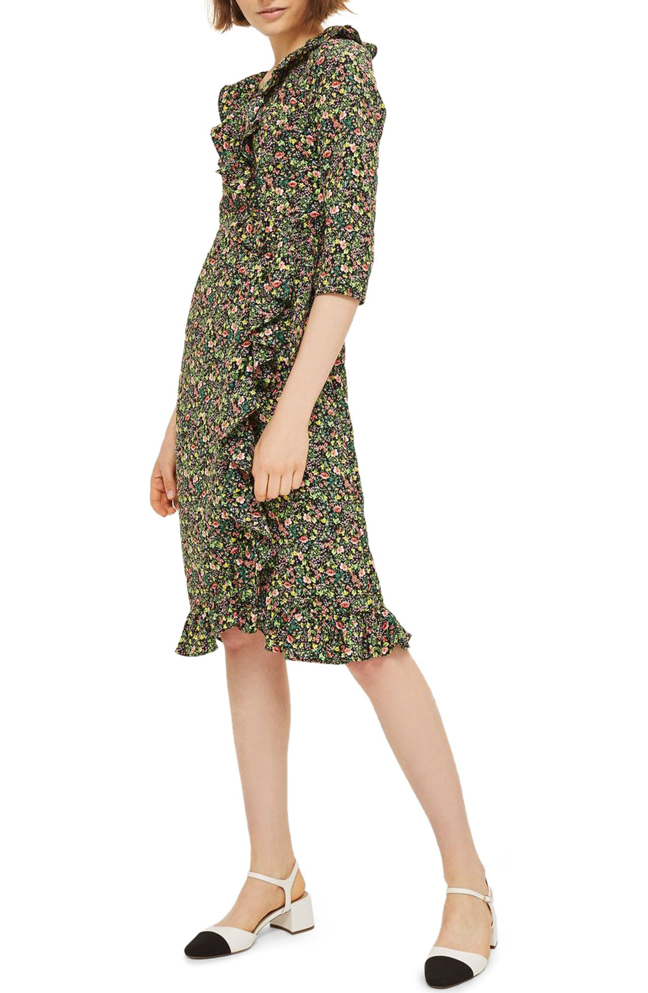 TOPSHOP, Flower Garden Ruffle Wrap Dress, Main thumbnail 1, color, 001