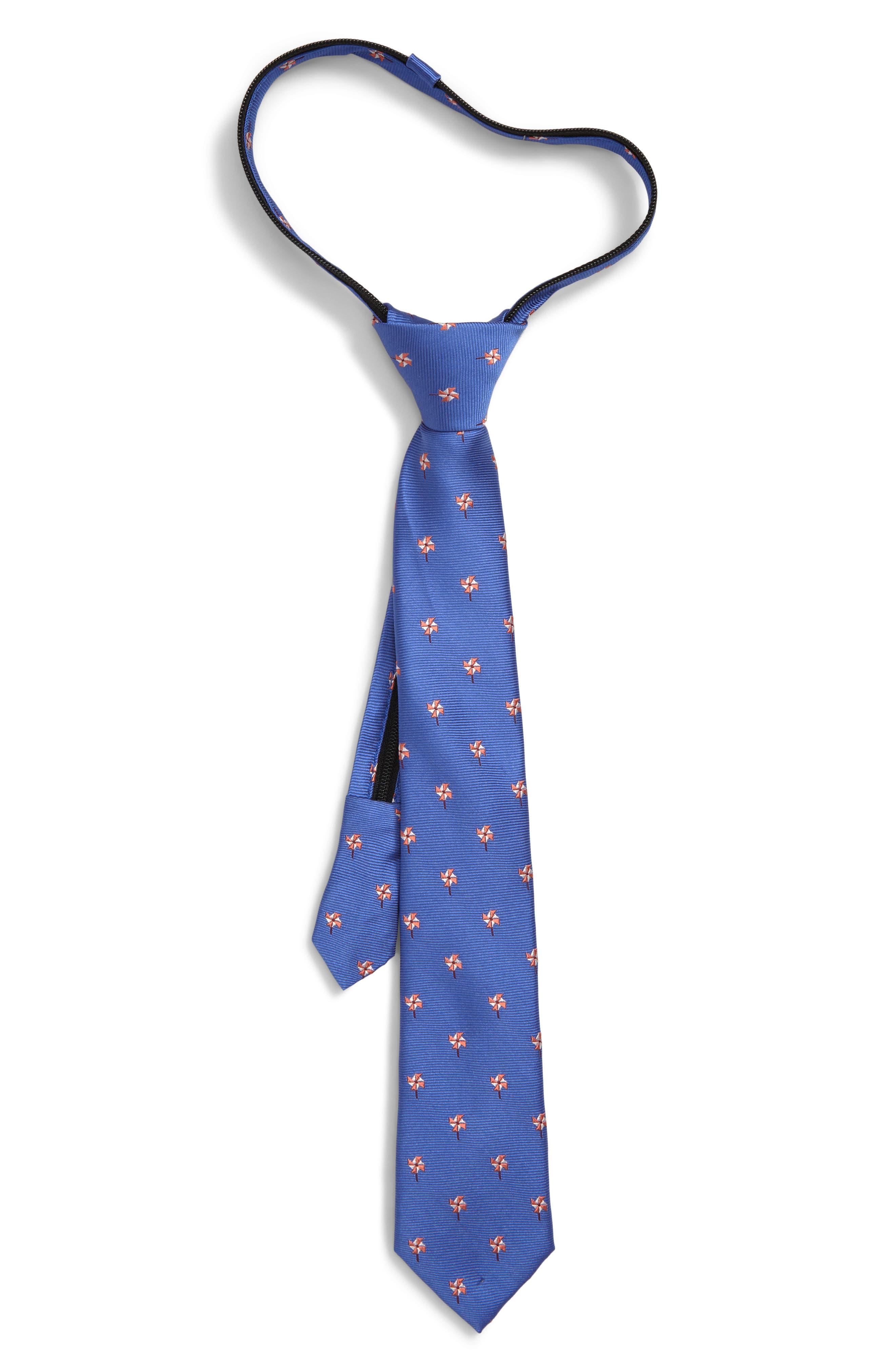 NORDSTROM Jacob Solid Silk Zipper Tie, Main, color, BLUE
