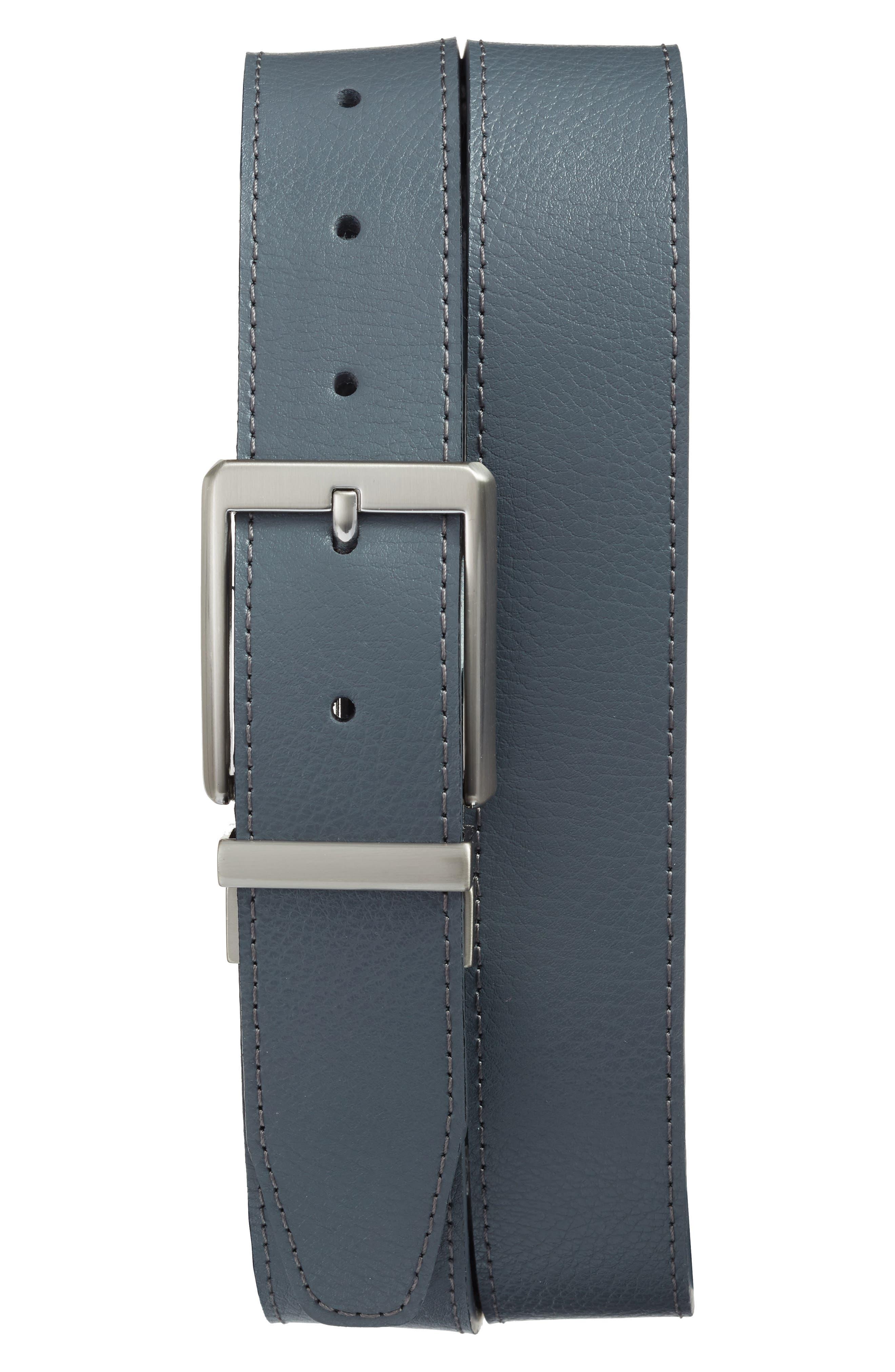 NIKE, Core Reversible Leather Belt, Main thumbnail 1, color, DARK GREY