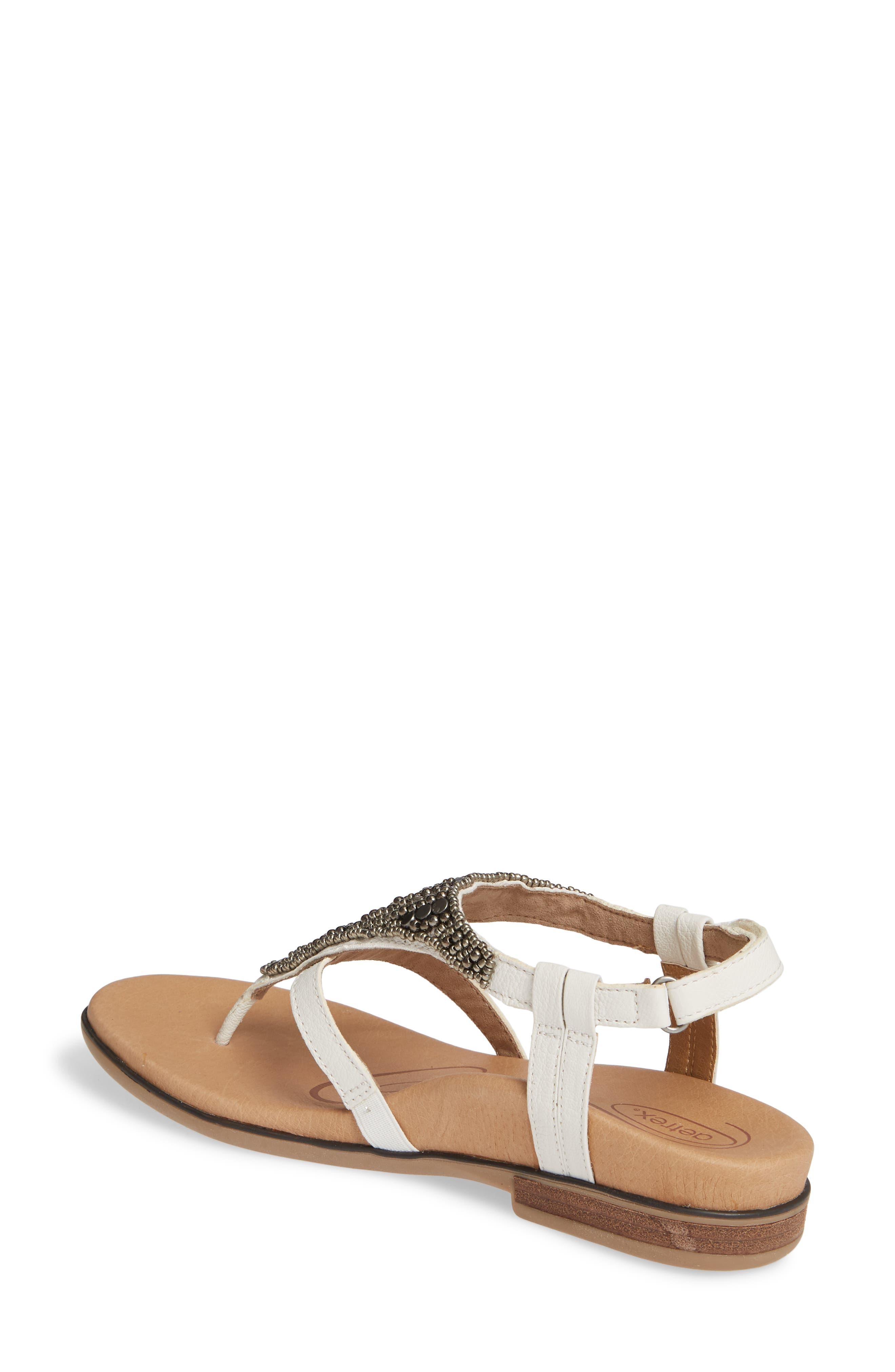 AETREX, Sheila Embellished Sandal, Alternate thumbnail 2, color, WHITE LEATHER