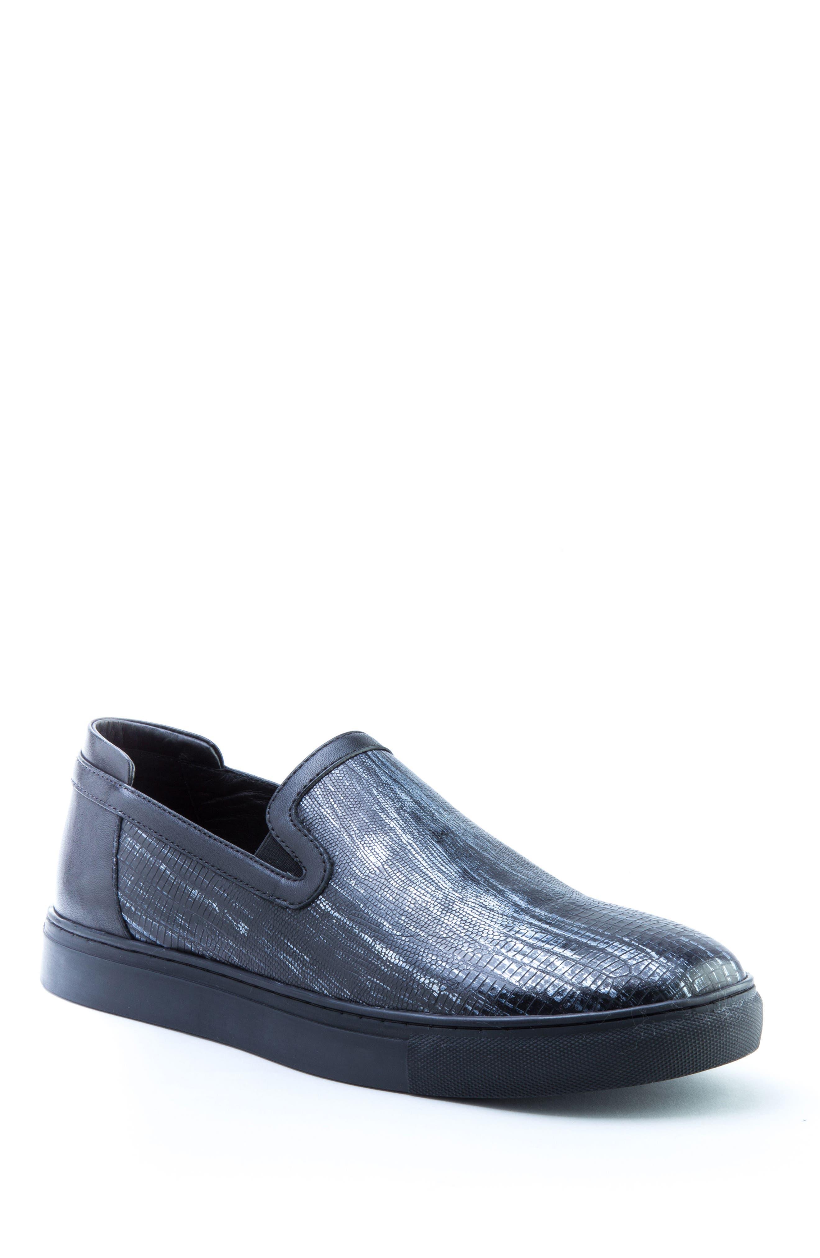 BADGLEY MISCHKA COLLECTION Badgley Mischka Bogart Sneaker, Main, color, BLACK LEATHER