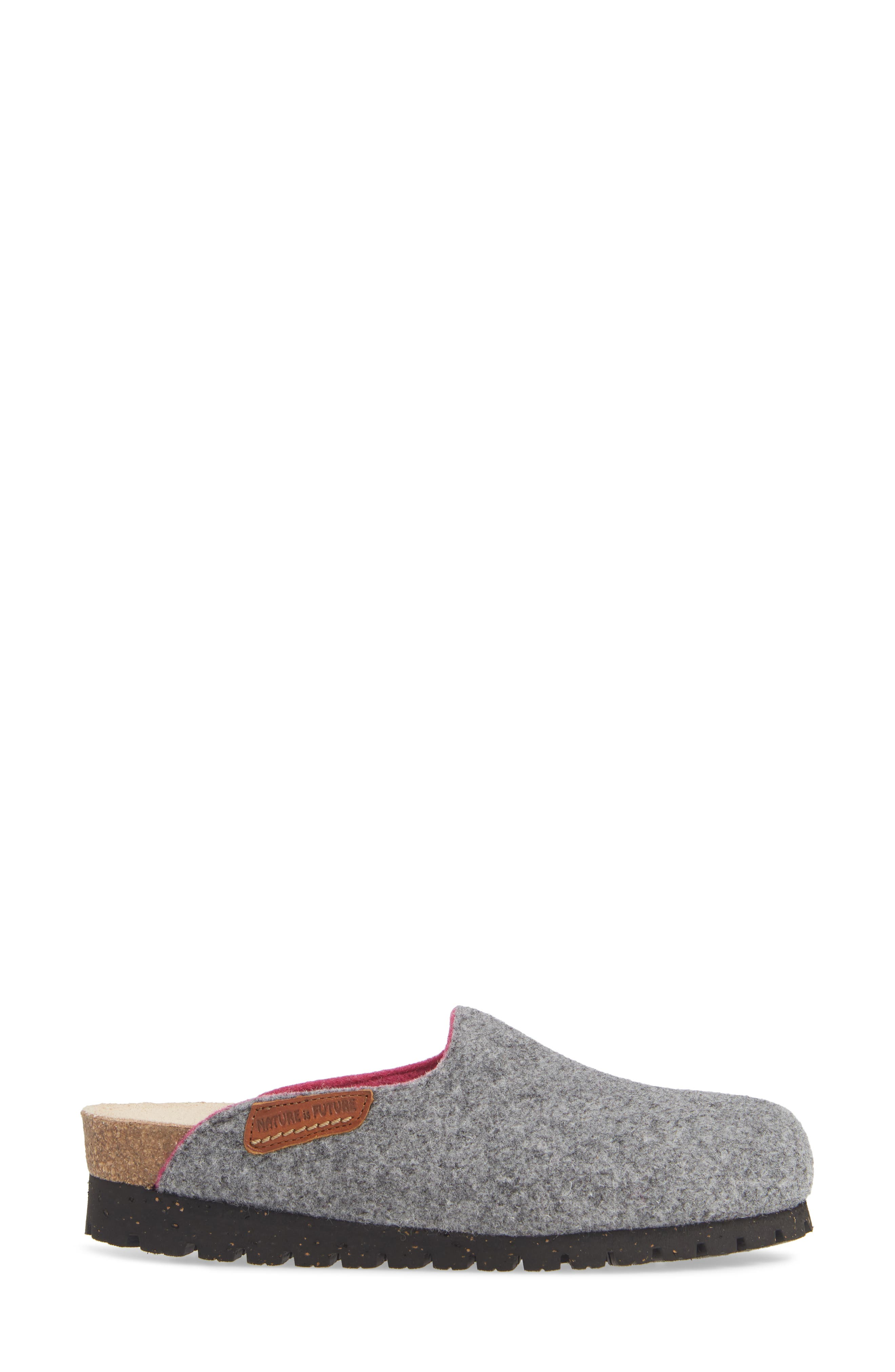 MEPHISTO, Thea Boiled Wool Clog, Alternate thumbnail 3, color, GREY FABRIC