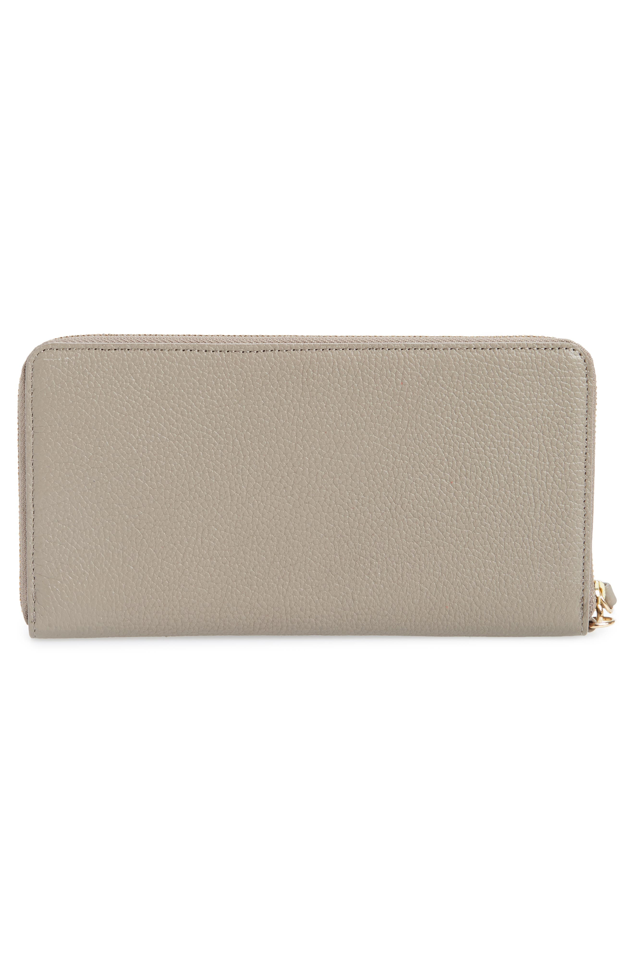 NORDSTROM, Zip Around Leather Continental Wallet, Alternate thumbnail 3, color, GREY TAUPE