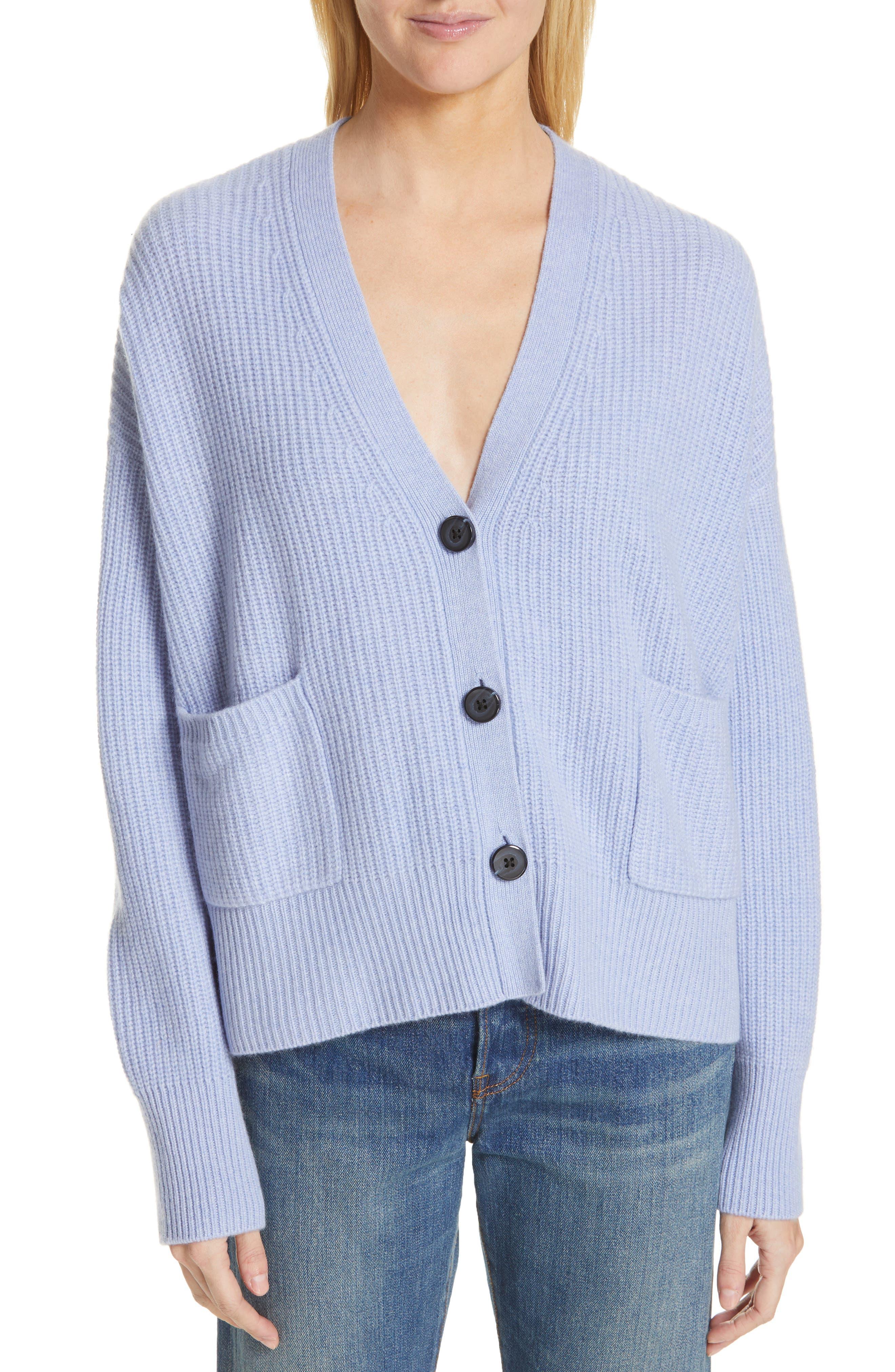 NORDSTROM SIGNATURE, Cashmere Pocket Cardigan, Main thumbnail 1, color, BLUE LUSTRE HEATHER