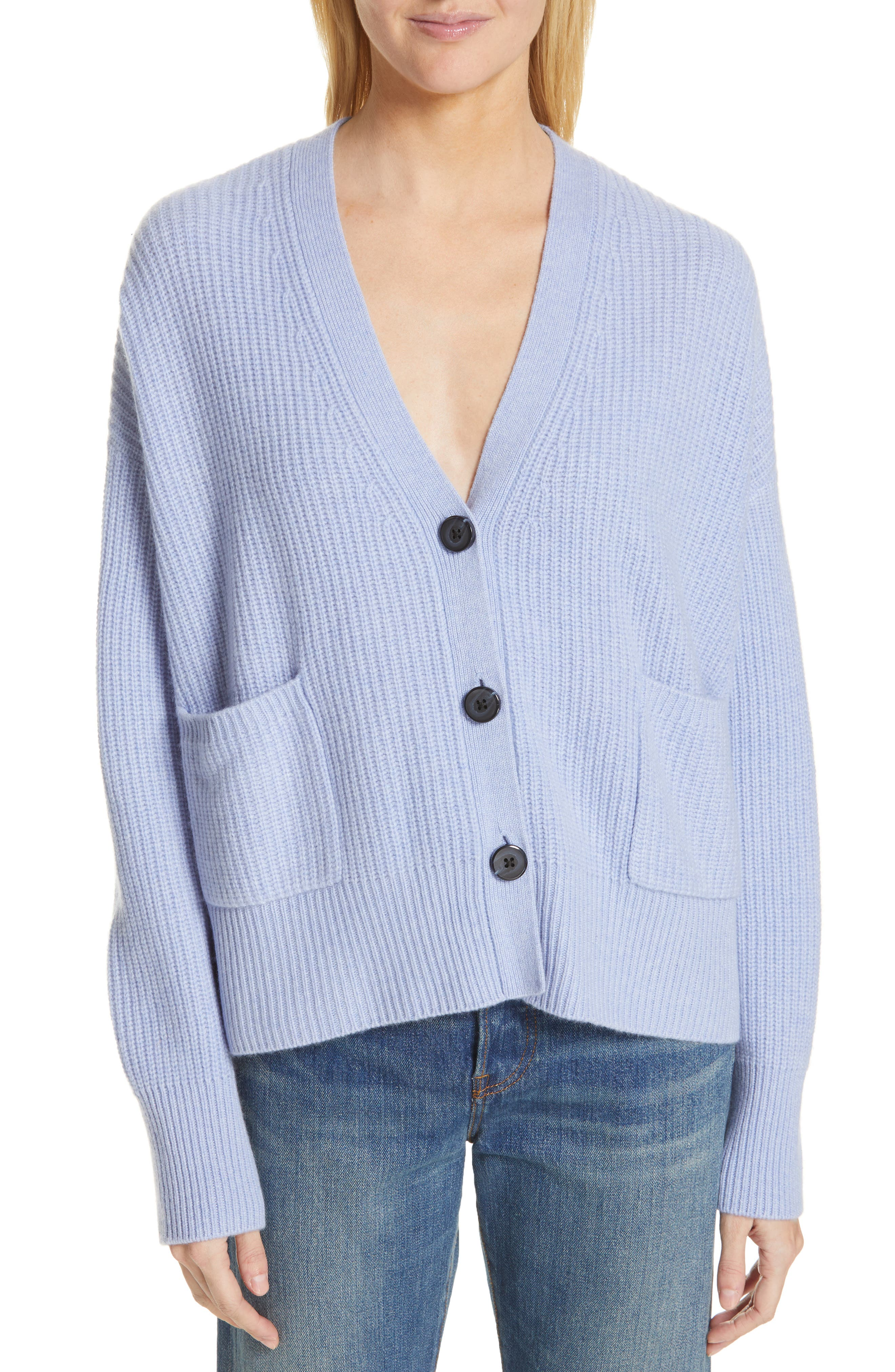 NORDSTROM SIGNATURE Cashmere Pocket Cardigan, Main, color, BLUE LUSTRE HEATHER