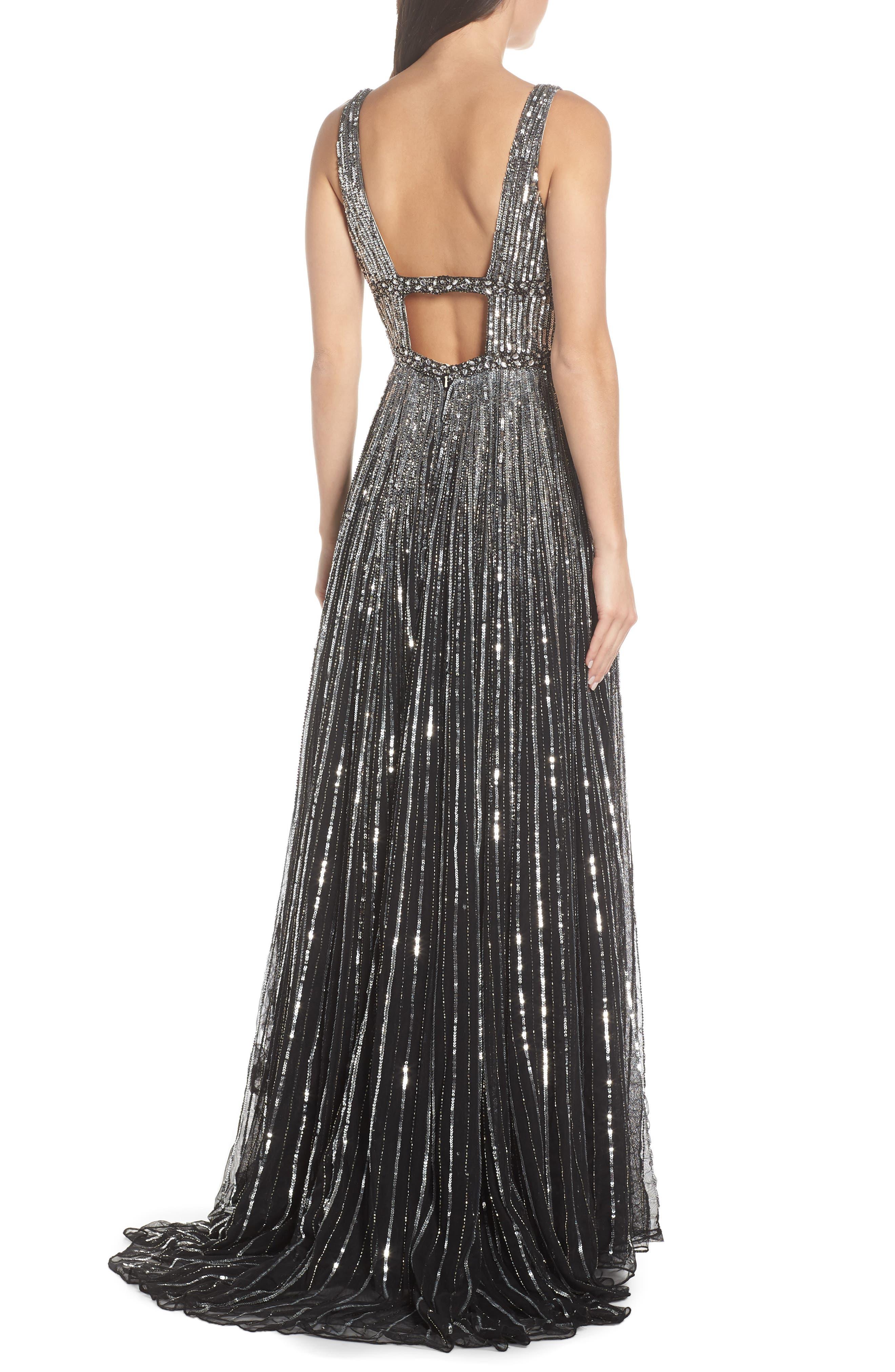 MAC DUGGAL, Deep V-Neck Sequin Stripe Gown, Alternate thumbnail 2, color, BLACK SILVER