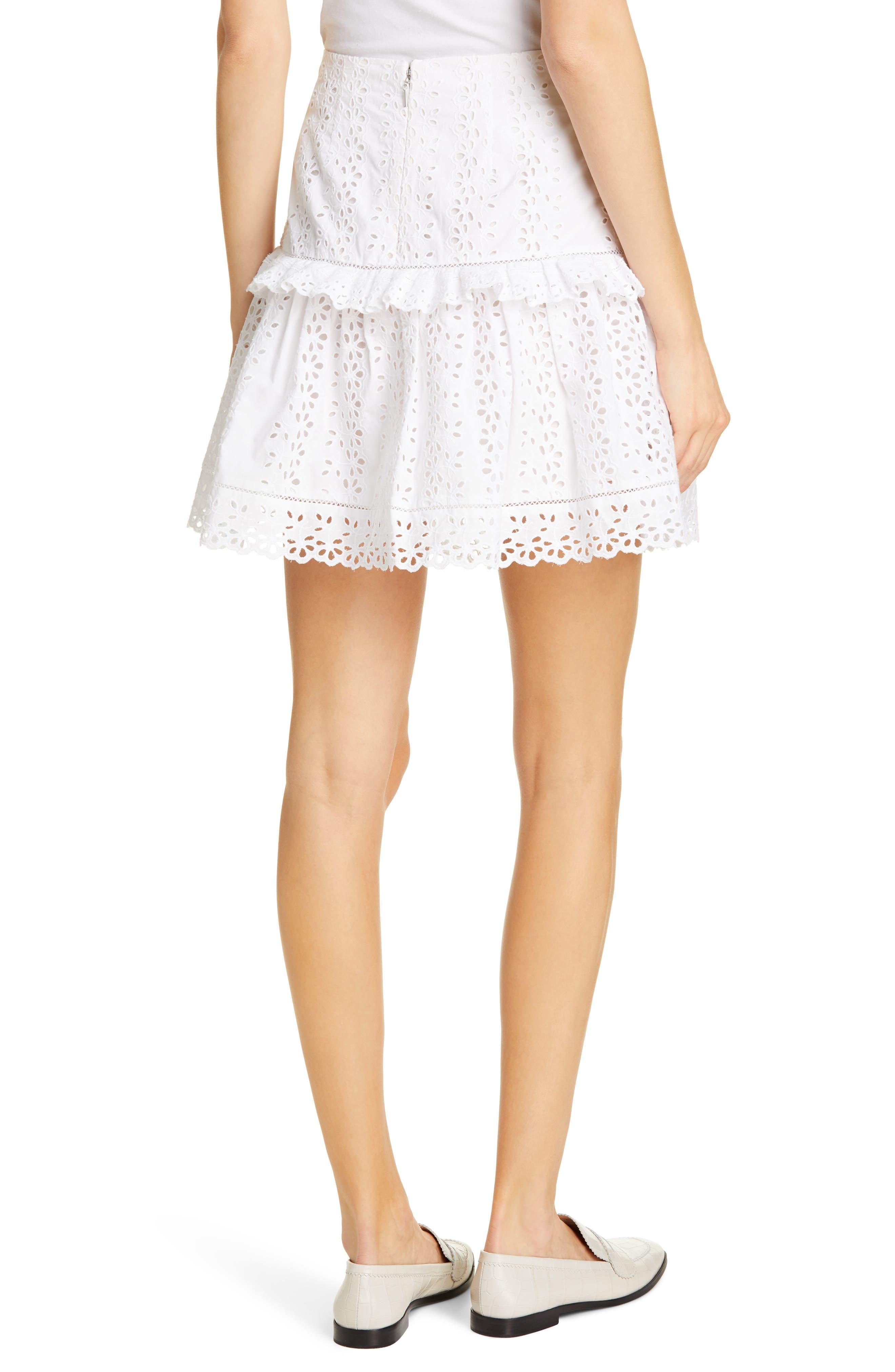 REBECCA TAYLOR, Karina Cotton Eyelet Skirt, Alternate thumbnail 2, color, MILK