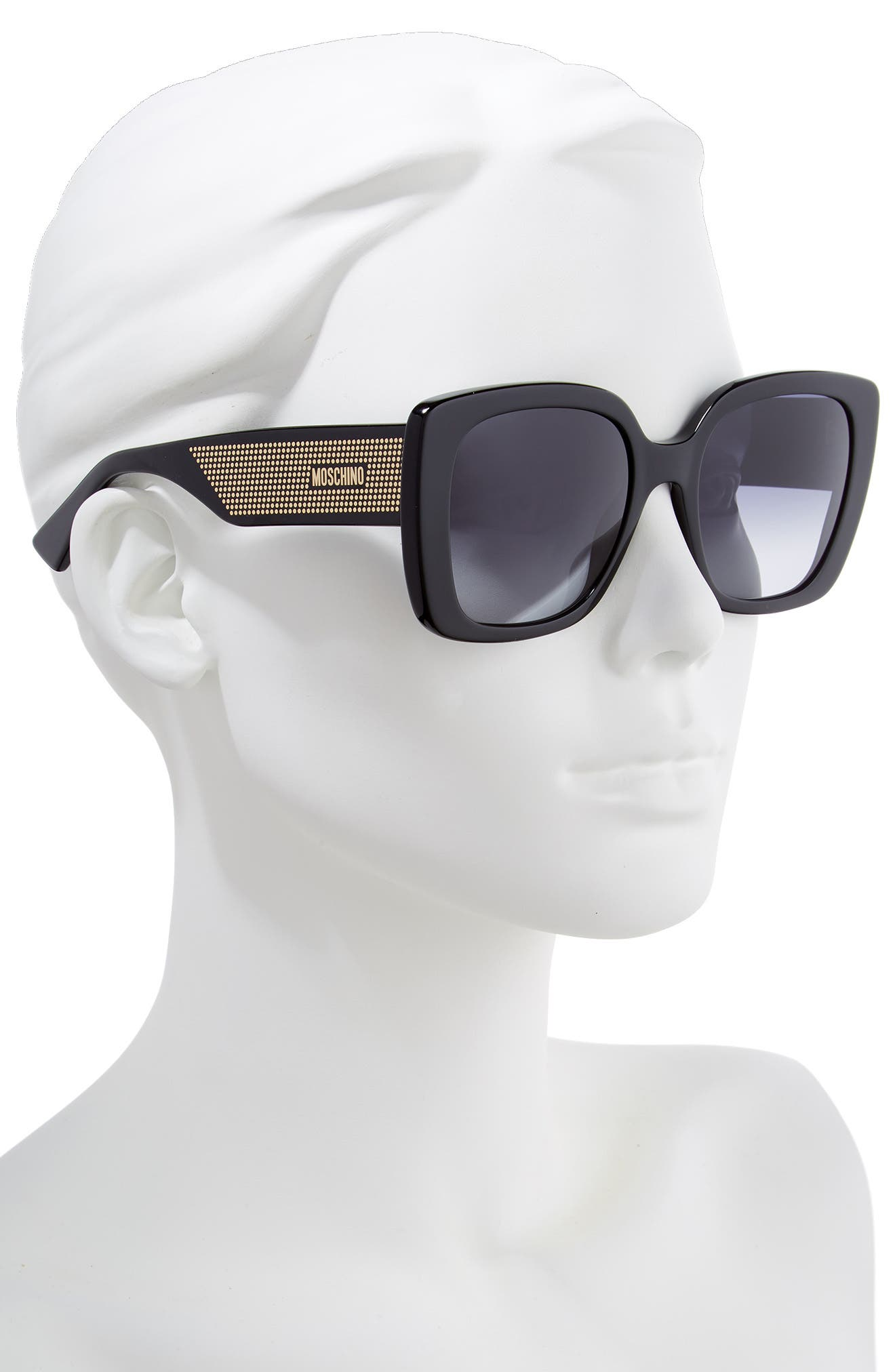 MOSCHINO, 54mm Square Sunglasses, Alternate thumbnail 2, color, BLACK