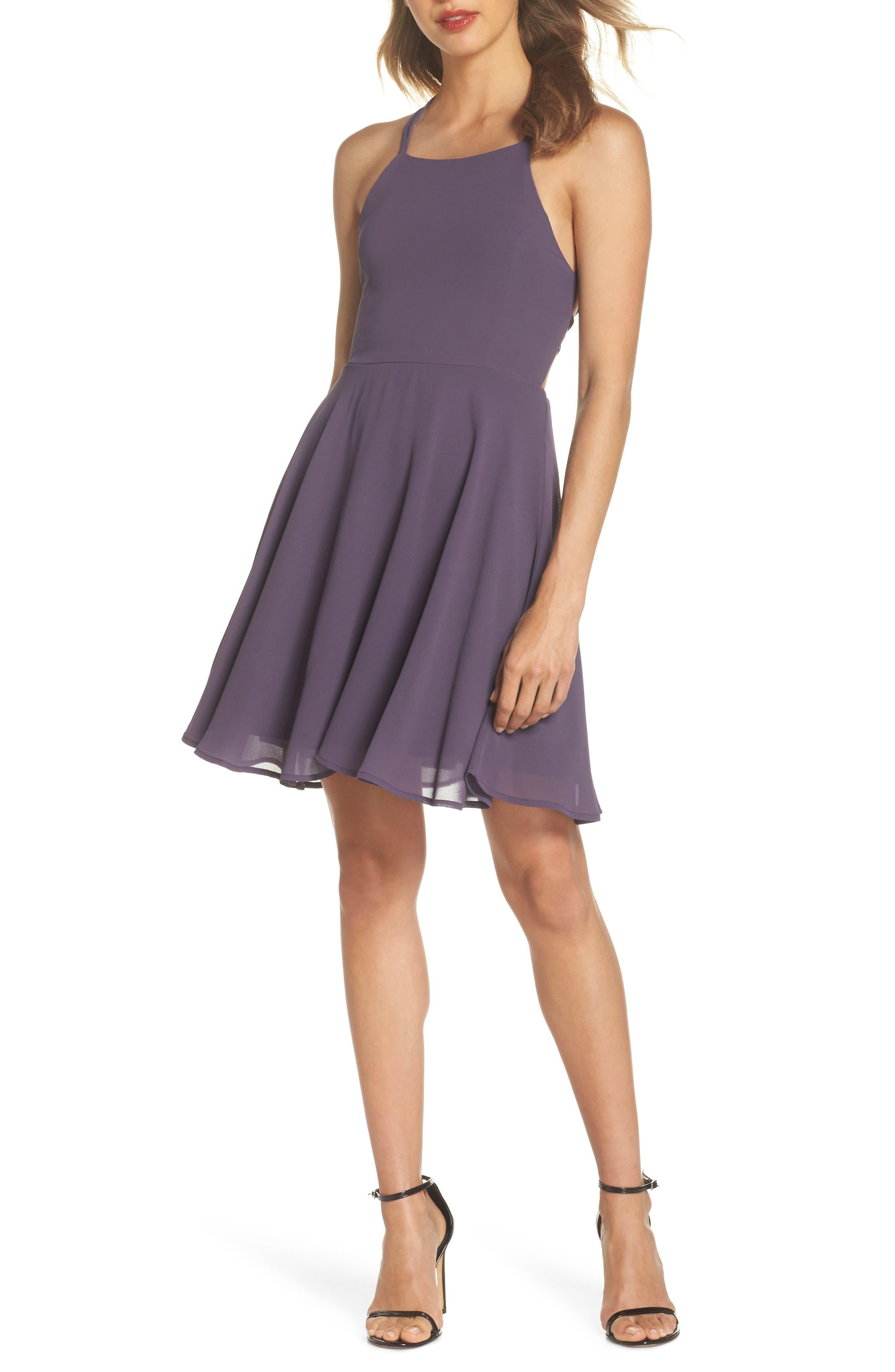 Lulus Good Deeds Lace-Up Skater Dress, Purple