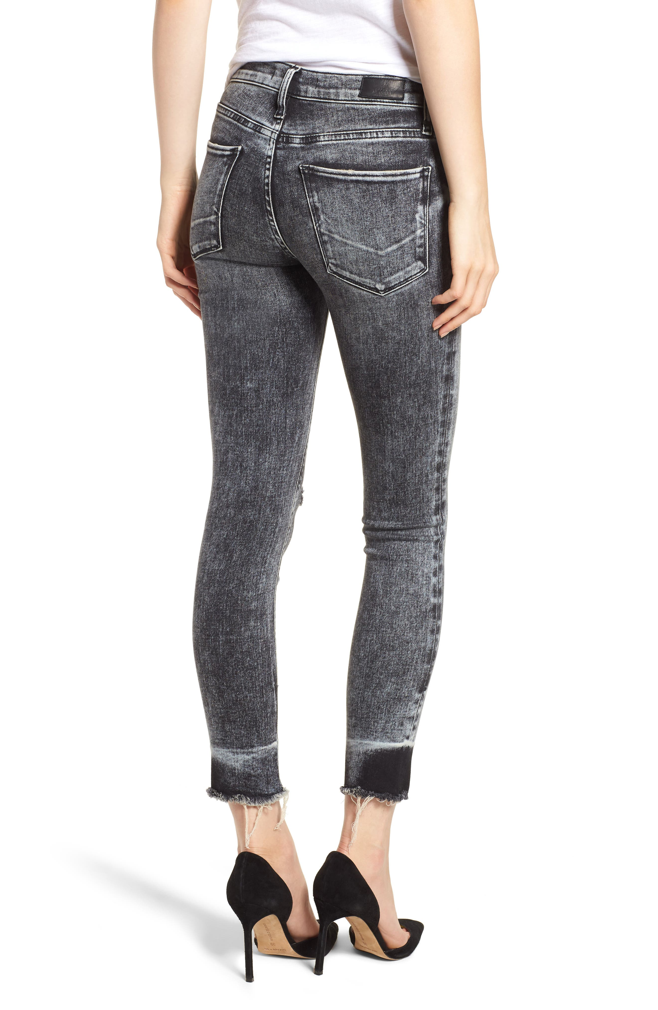 HUDSON JEANS, Nico Raw Hem Crop Super Skinny Jeans, Alternate thumbnail 2, color, PEPPER