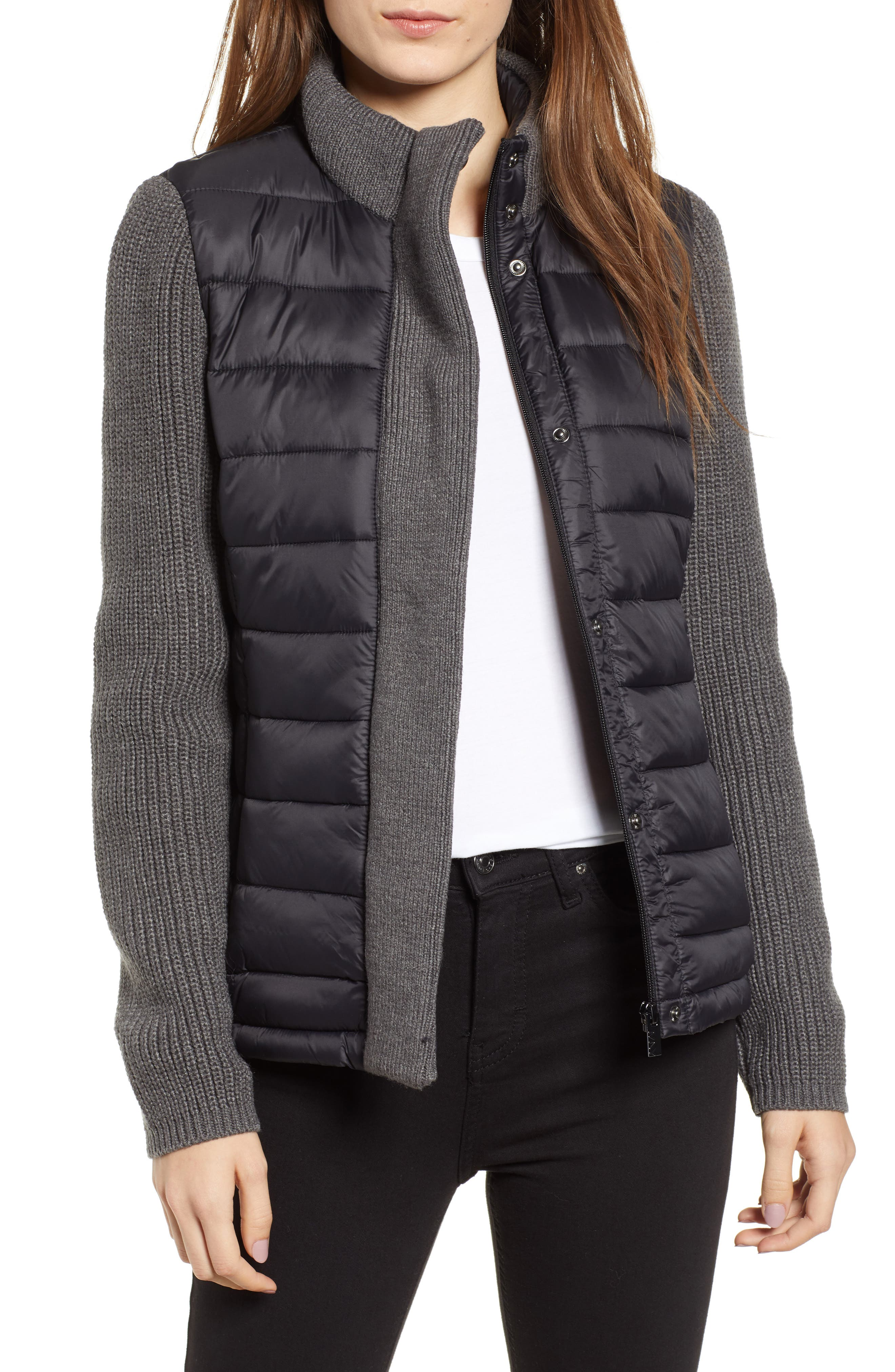 MARC NEW YORK, Mark New York Packable Knit Trim Puffer Jacket, Main thumbnail 1, color, BLACK/ GREY
