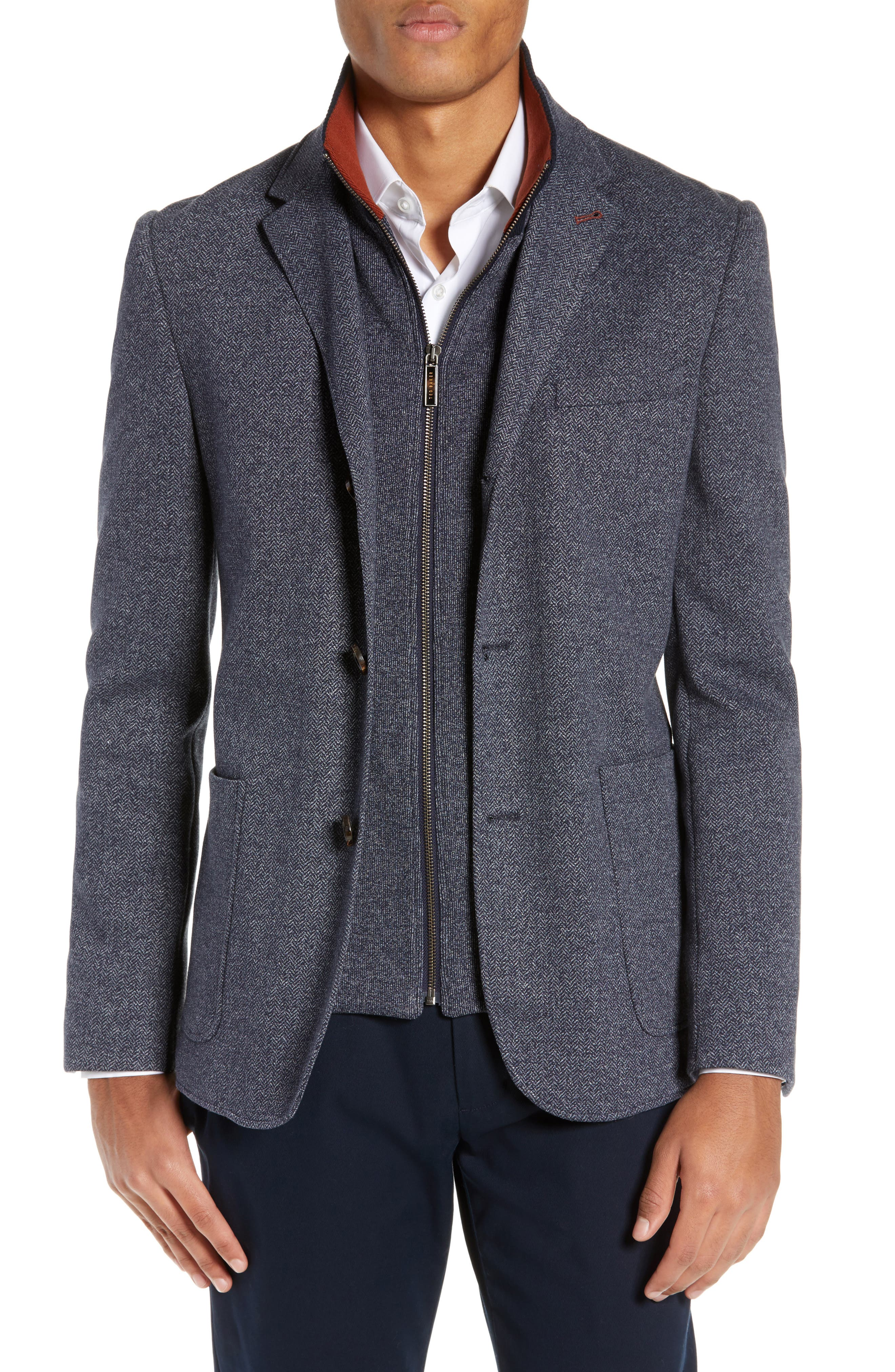 TED BAKER LONDON, Cole Layered Look Herringbone Jacket, Main thumbnail 1, color, BLUE