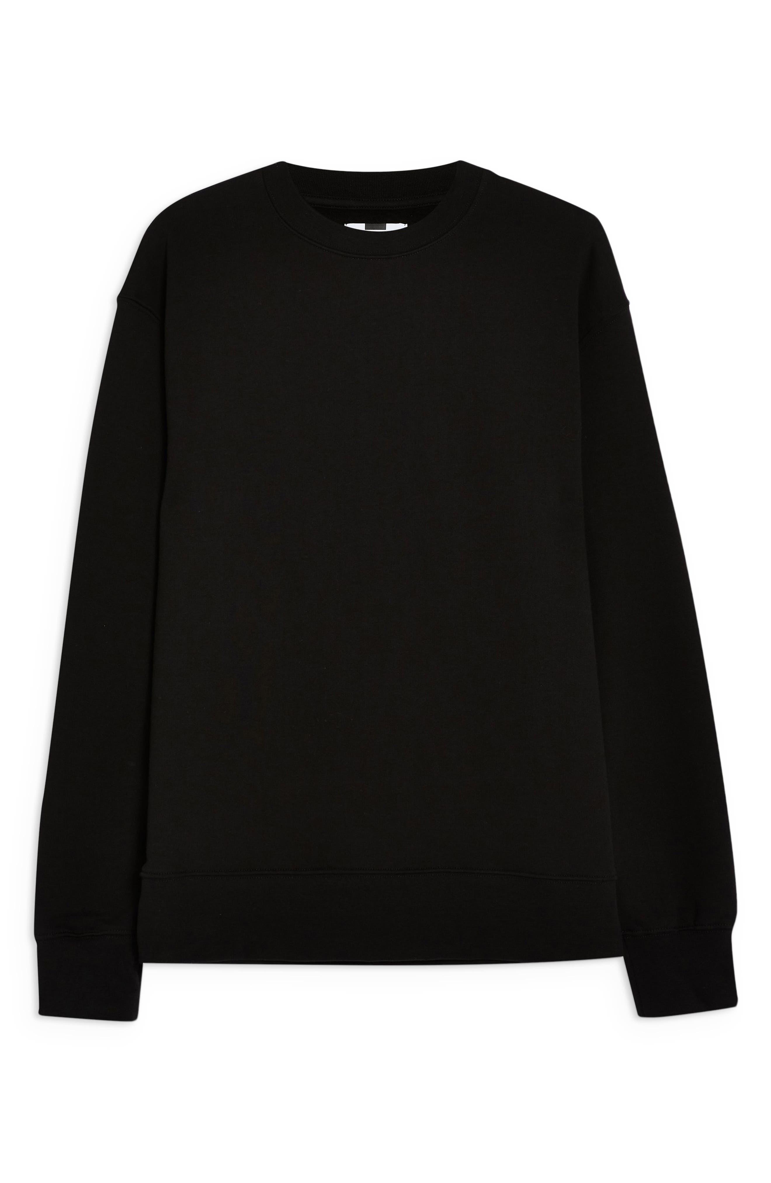 TOPMAN, Crewneck Sweatshirt, Alternate thumbnail 3, color, BLACK