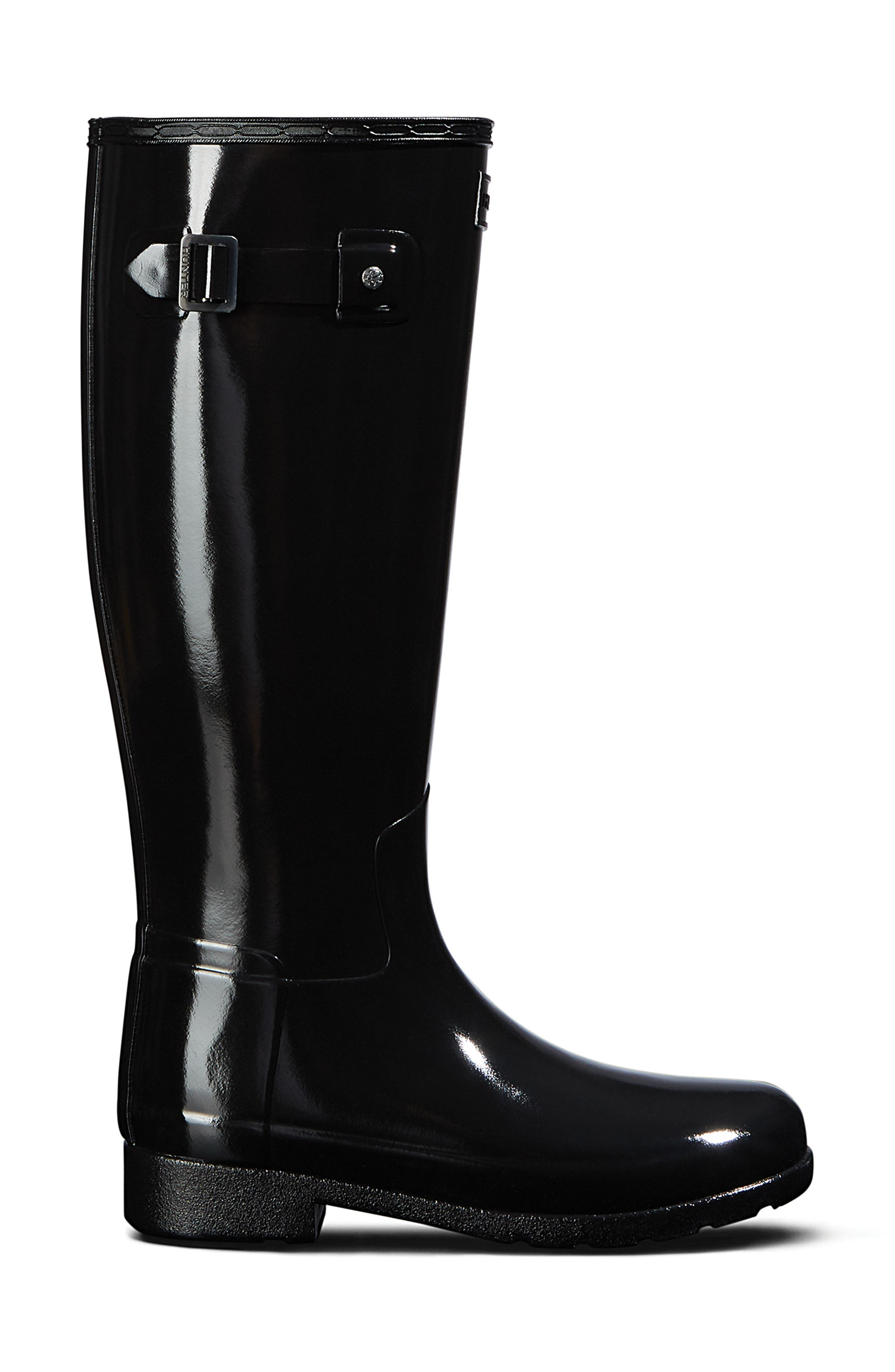 HUNTER, Original Refined Gloss Tall Waterproof Rain Boot, Alternate thumbnail 3, color, BLACK