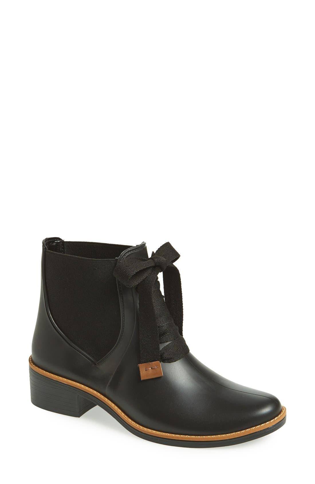 BERNARDO, Lacey Short Waterproof Rain Boot, Main thumbnail 1, color, 001