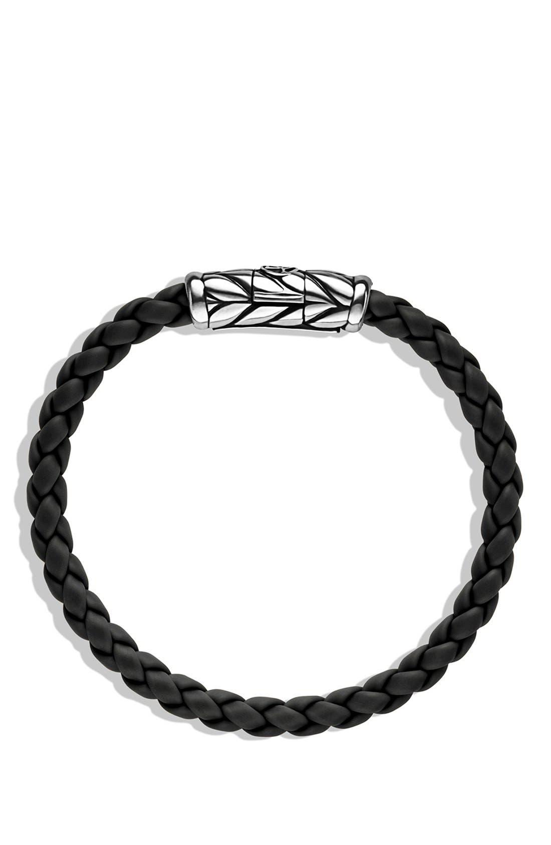 DAVID YURMAN, 'Chevron' Woven Rubber Bracelet, Alternate thumbnail 2, color, BLACK