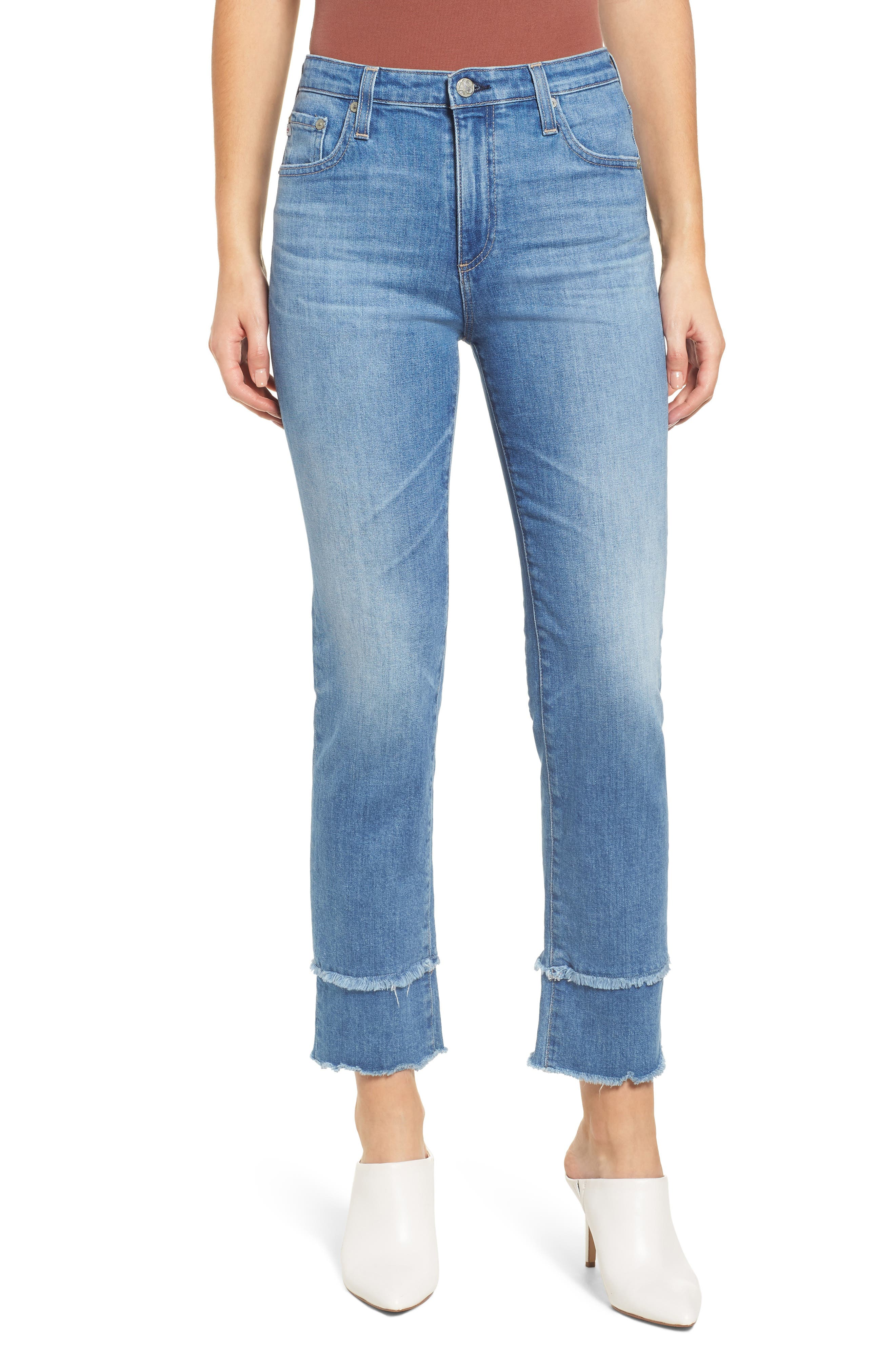 AG, The Isabelle High Waist Straight Leg Jeans, Main thumbnail 1, color, 13Y AWESTRUCK