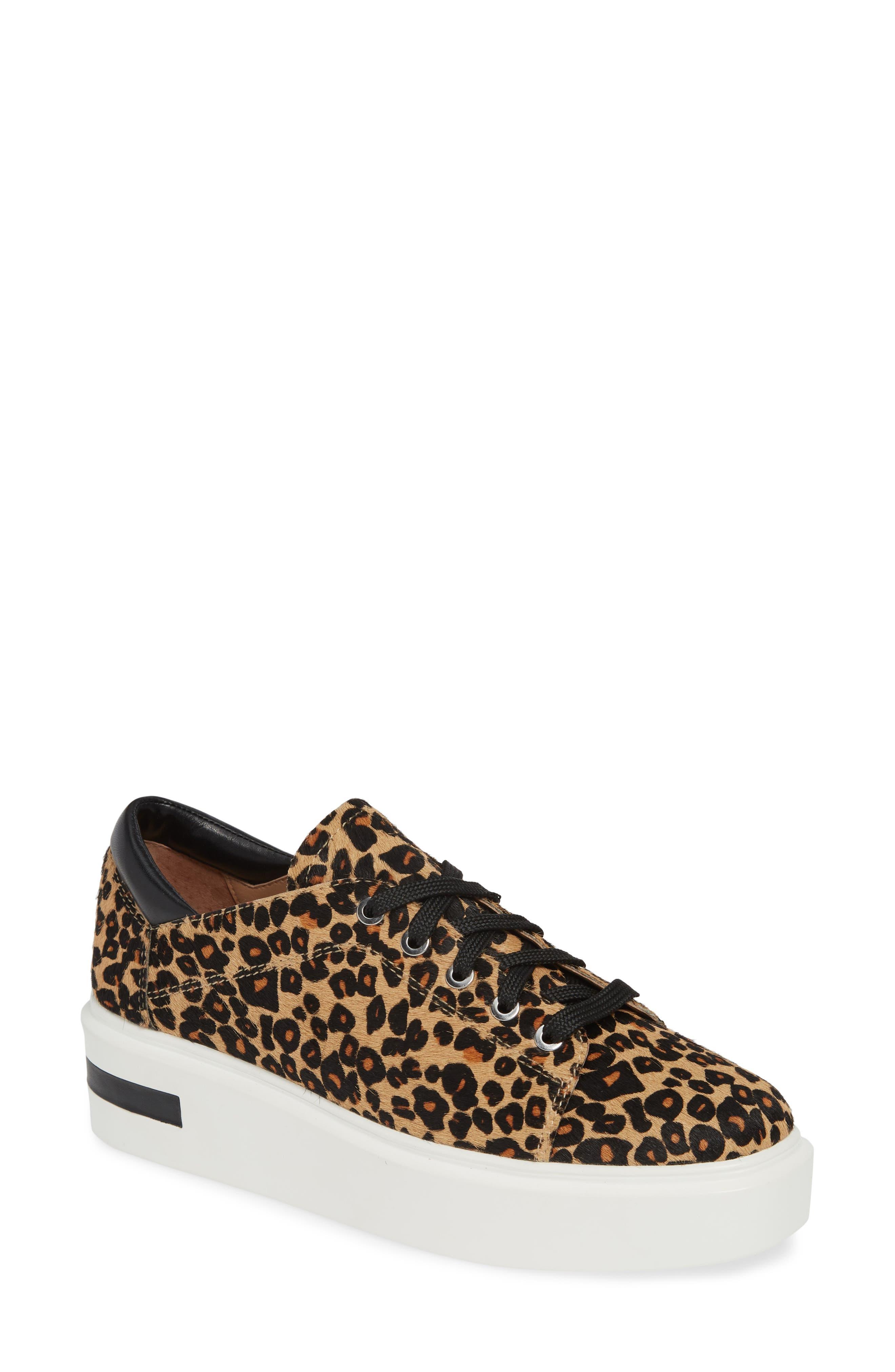 LINEA PAOLO, Kendra Genuine Calf Hair Platform Sneaker, Main thumbnail 1, color, LEOPARD PRINT CALF HAIR