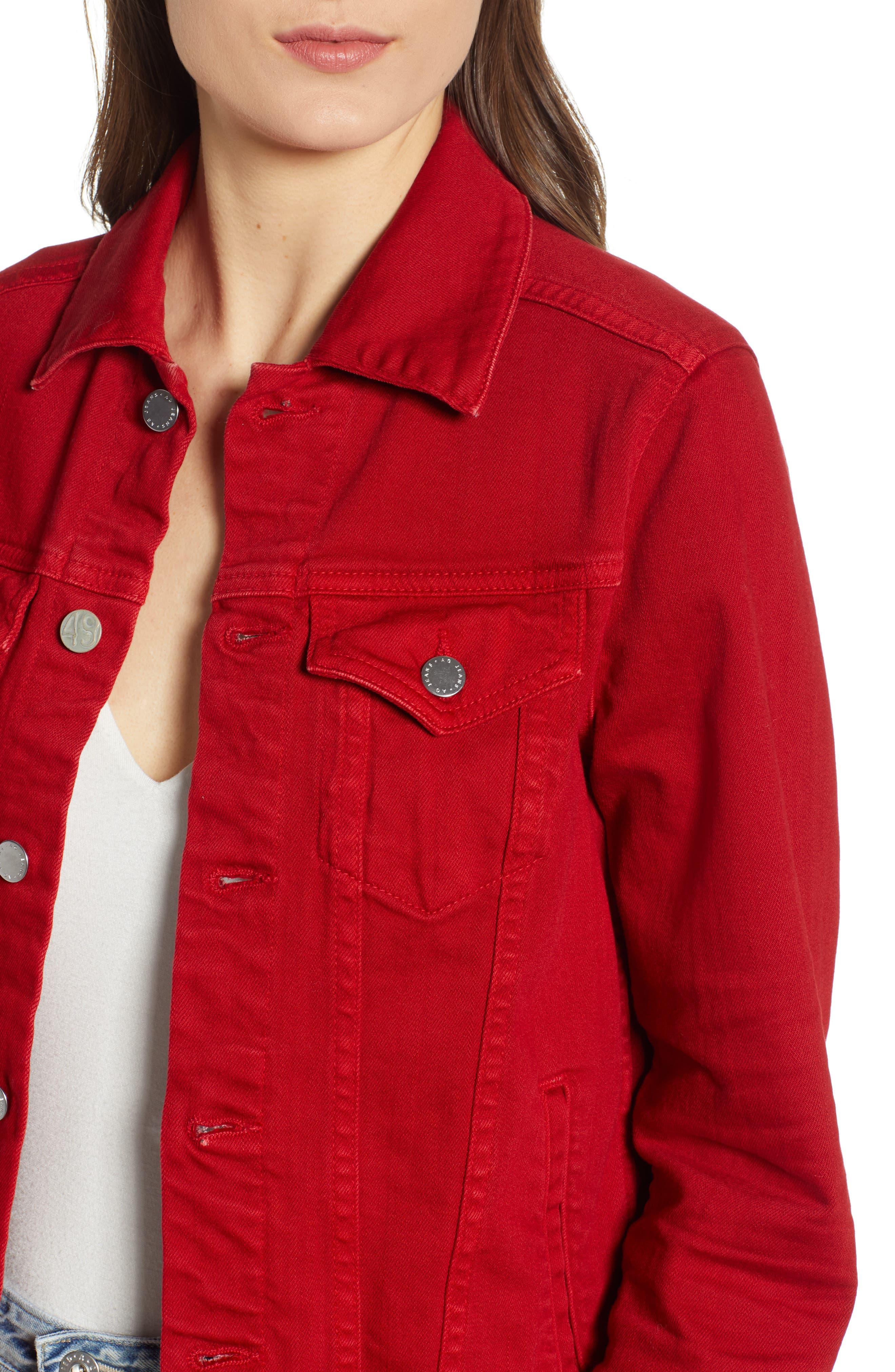 AG, Mya Denim Jacket, Alternate thumbnail 5, color, 01Y HI WHITE CLEVER RED