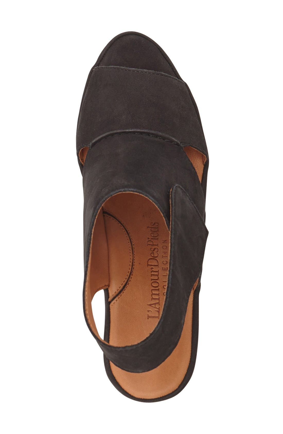 L'AMOUR DES PIEDS, 'Oswin' Peep Toe Demi Wedge Sandal, Alternate thumbnail 3, color, BLACK NUBUCK LEATHER
