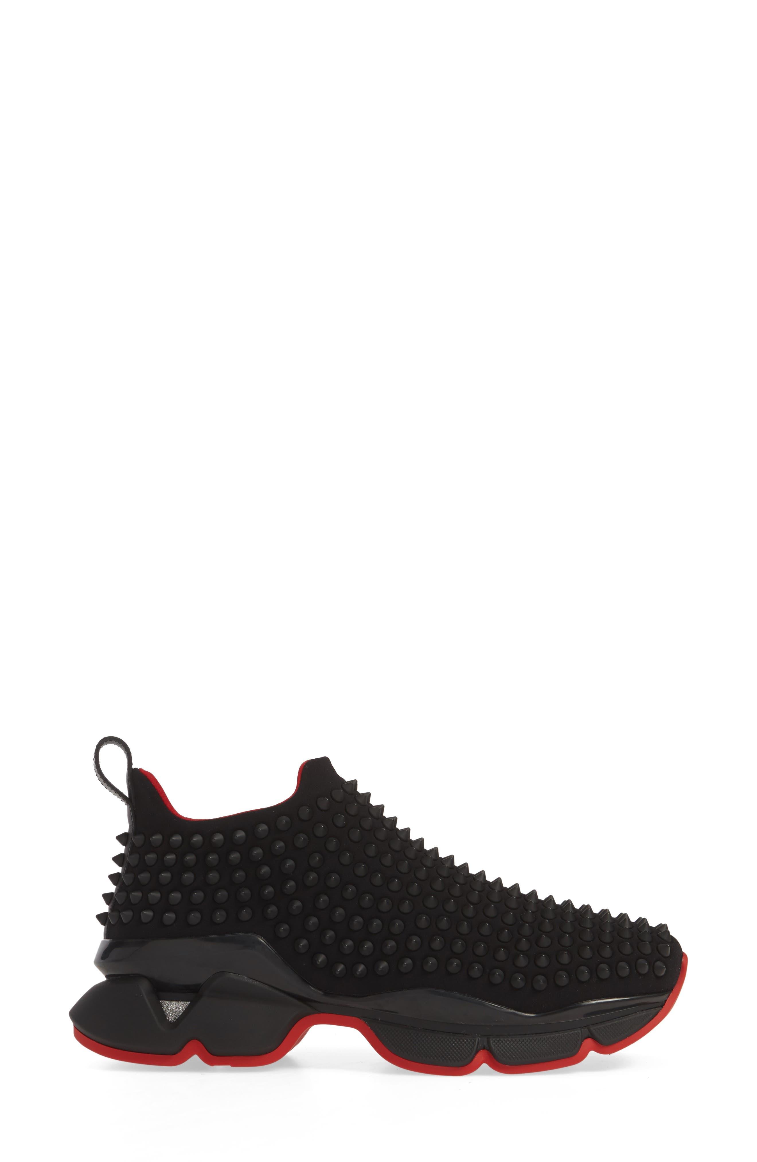 CHRISTIAN LOUBOUTIN, Spike Sock Donna Sneaker, Alternate thumbnail 3, color, BLACK