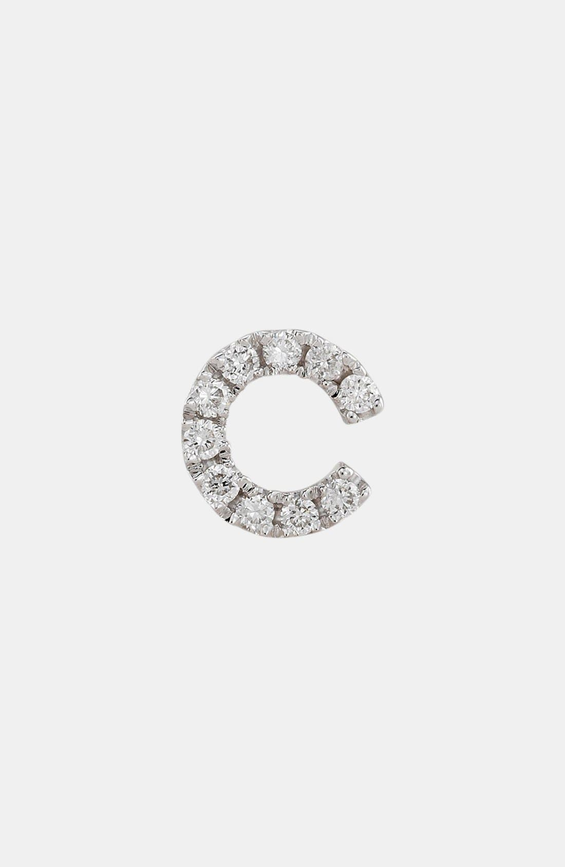 BONY LEVY Single Initial Earring, Main, color, WHITE GOLD/ C