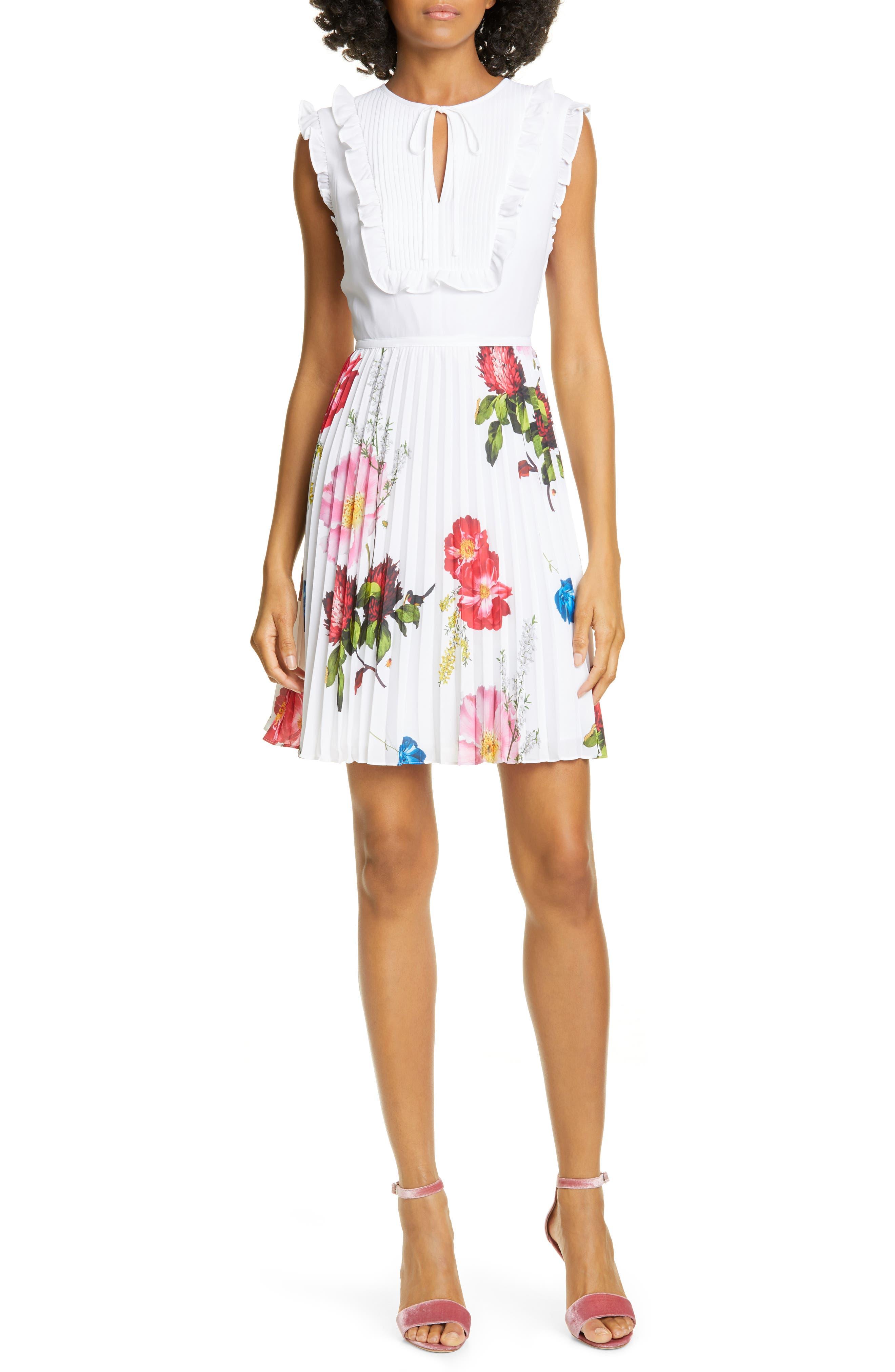 Ted Baker London Romanna Floral Pleat Dress, White