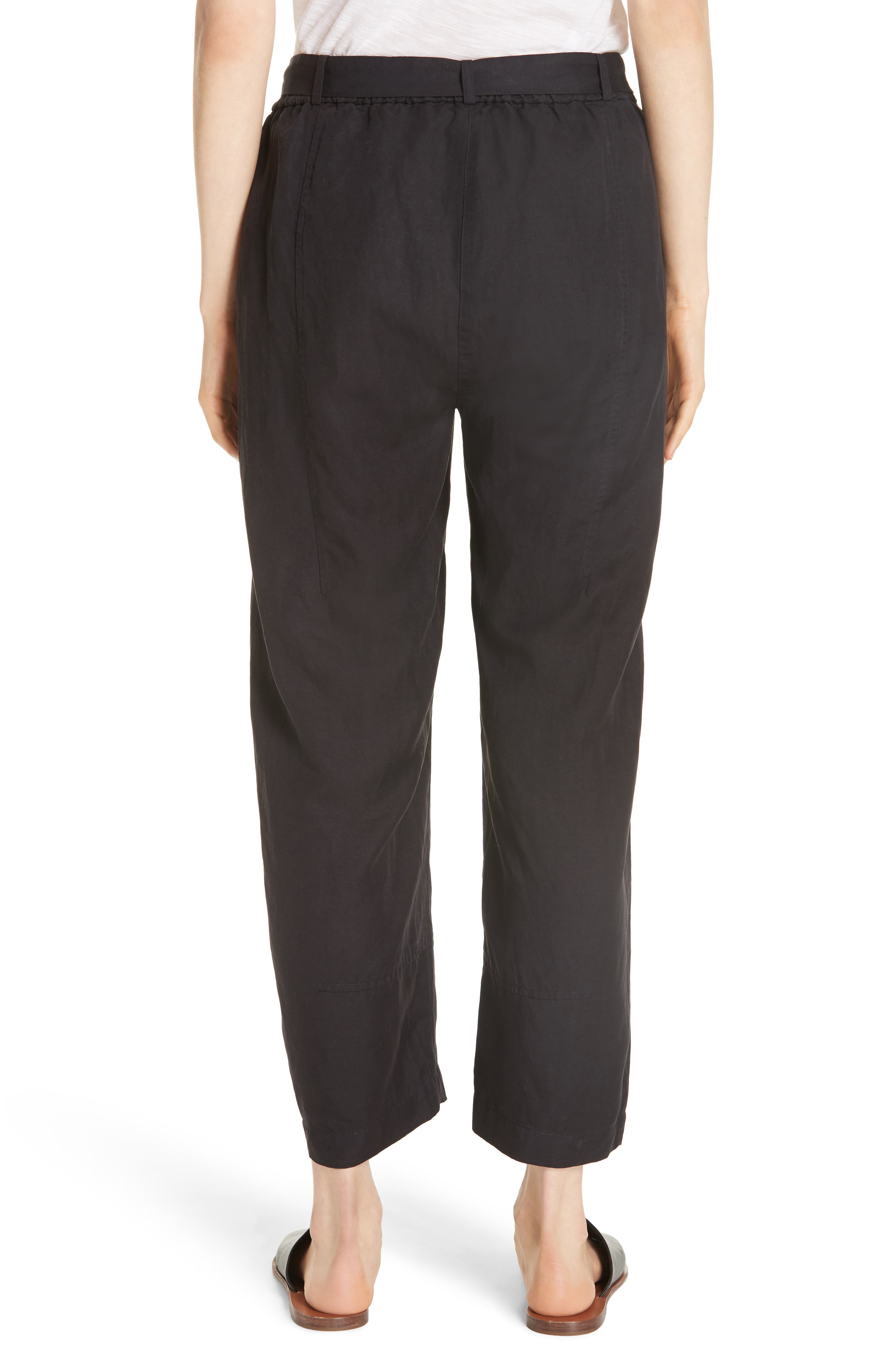 EILEEN FISHER, Lantern Twill Ankle Pants, Alternate thumbnail 2, color, 001