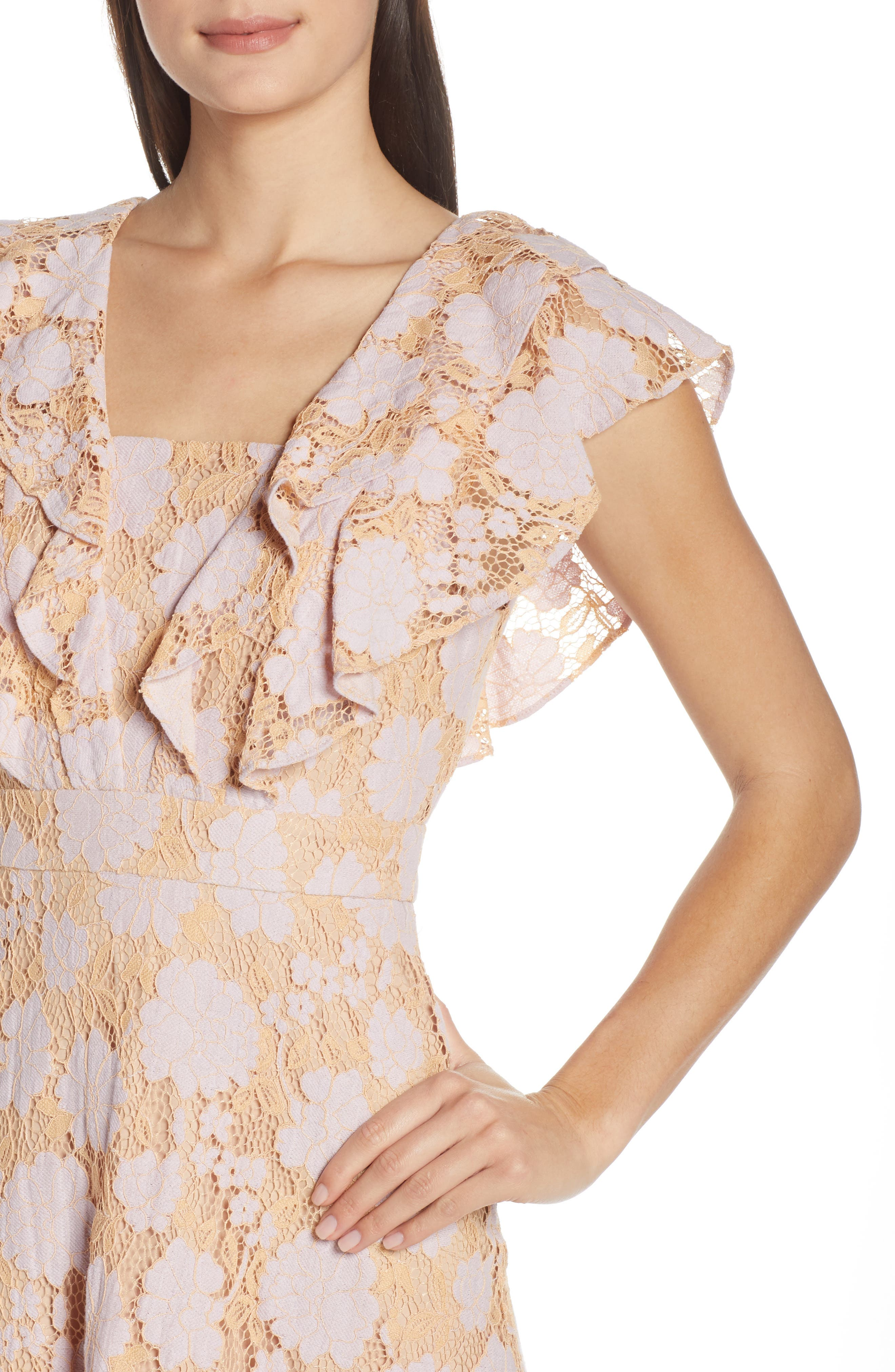 CHARLES HENRY, Ruffle Lace Minidress, Alternate thumbnail 5, color, LILAC-PINK LACE
