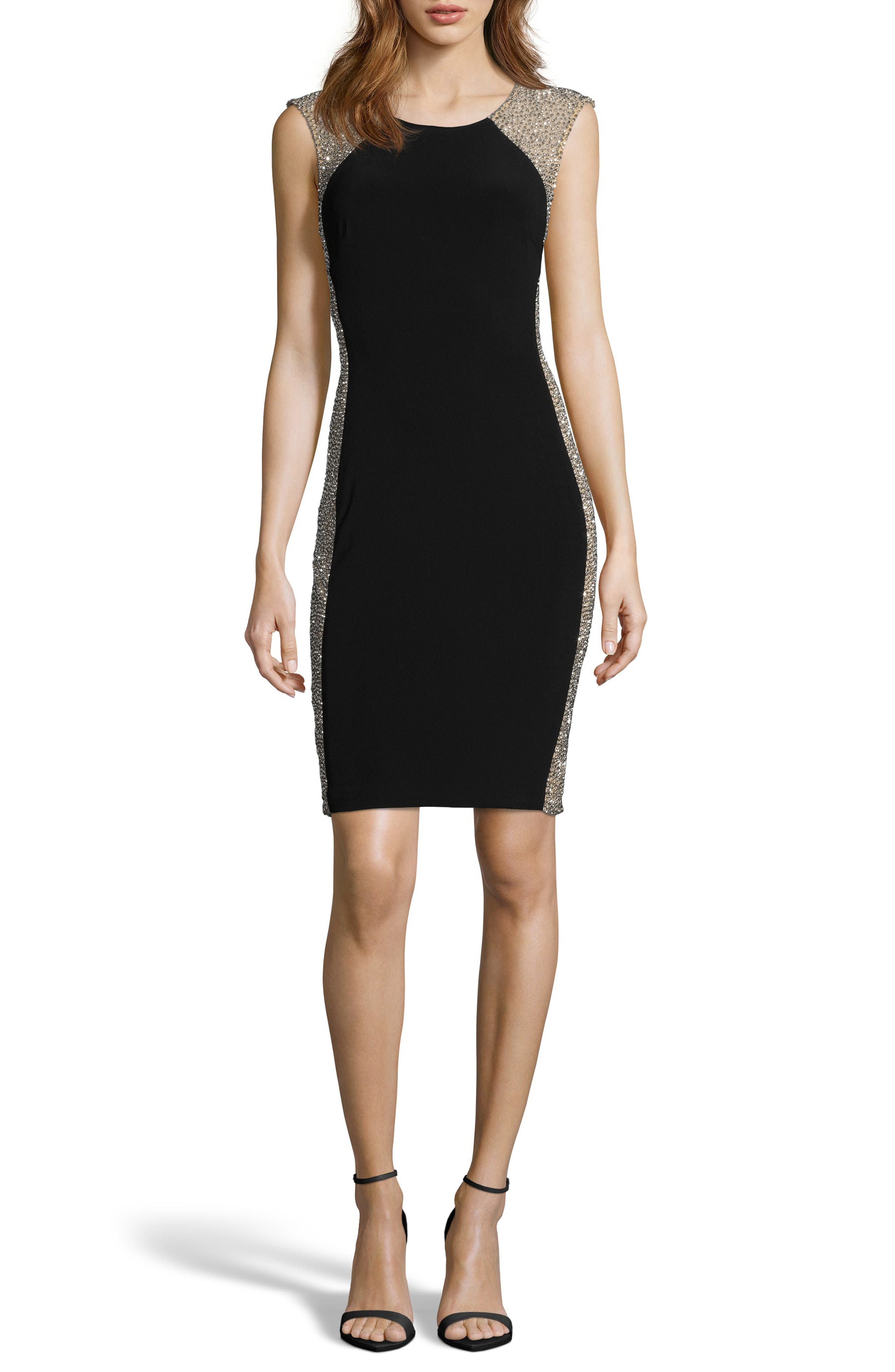 XSCAPE, Beaded Cocktail Dress, Main thumbnail 1, color, BLACK/ NUDE/ SILVER