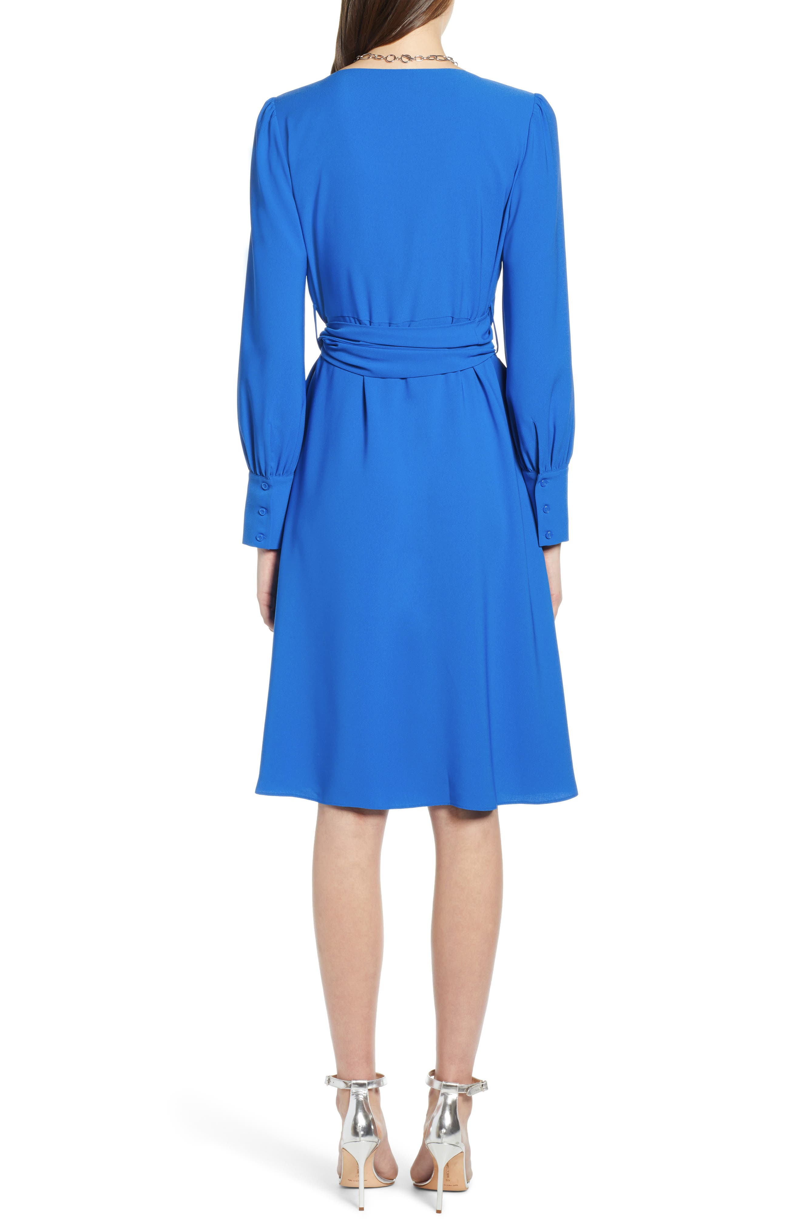 HALOGEN<SUP>®</SUP>, Wrap Dress, Alternate thumbnail 2, color, BLUE VICTORIA
