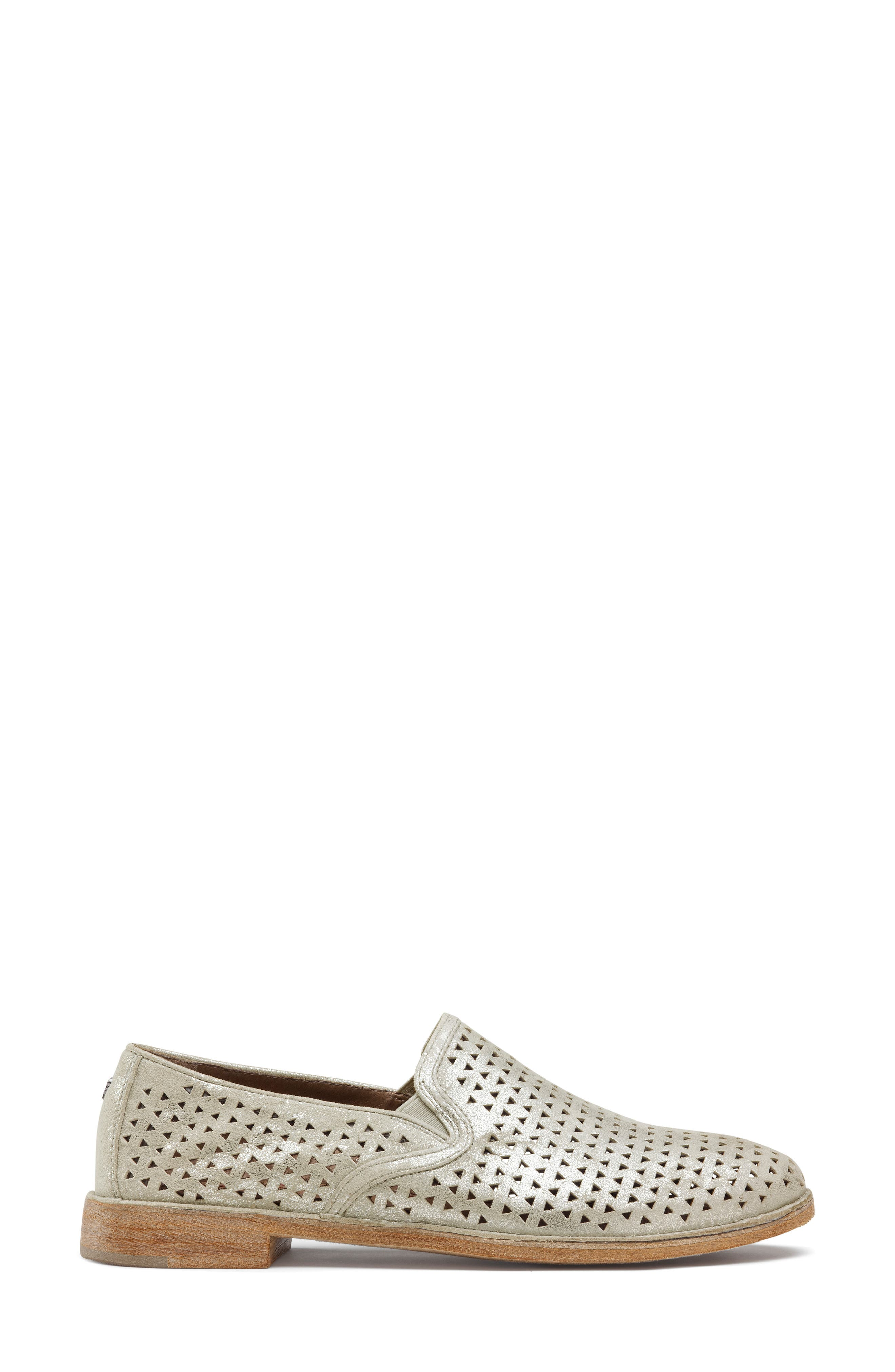 TRASK, Ali Perforated Loafer, Alternate thumbnail 3, color, IVORY METALLIC SUEDE