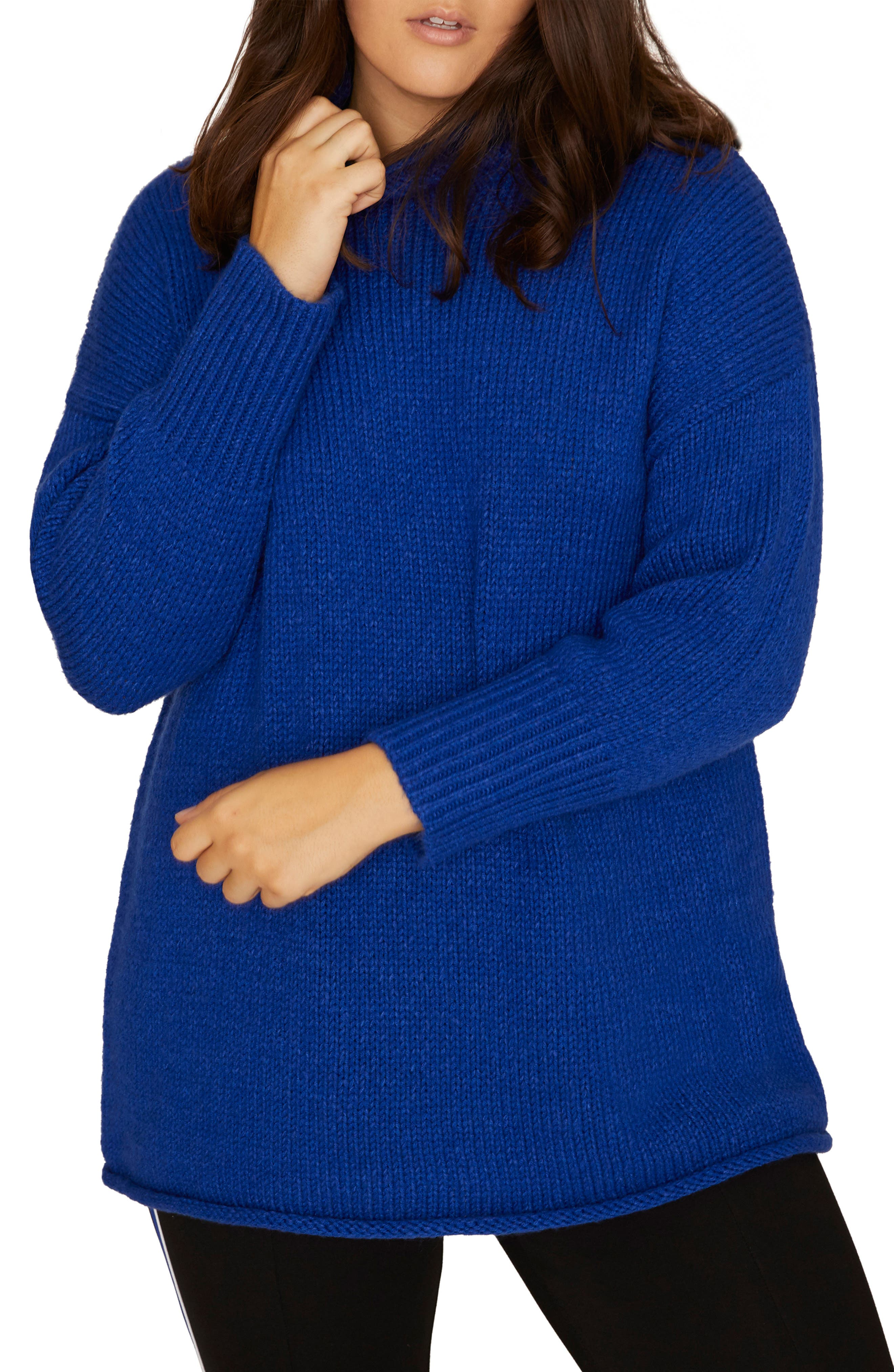 SANCTUARY, Supersized Curl Up Sweater, Main thumbnail 1, color, ELECTRIC BLUE