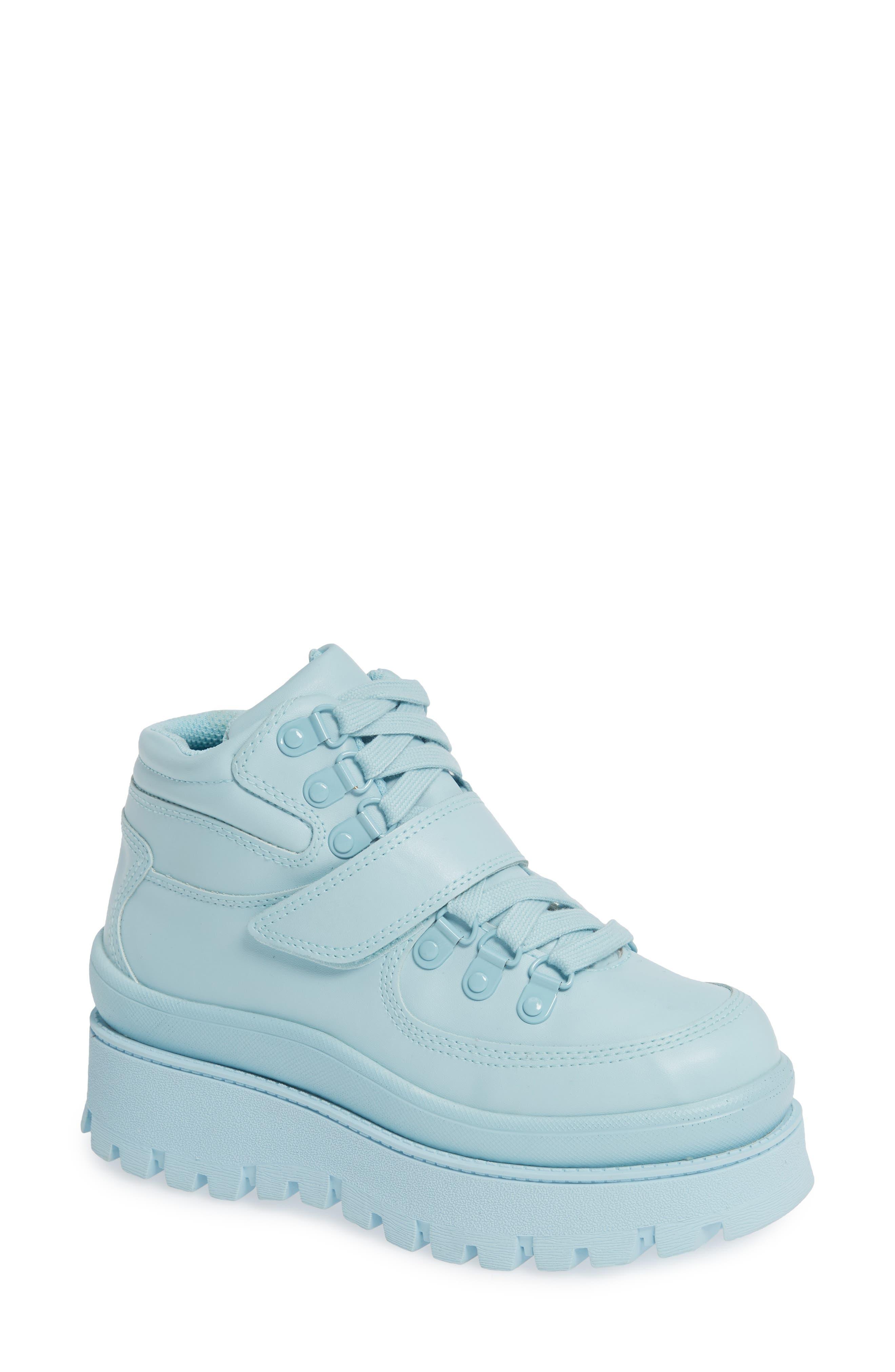 JEFFREY CAMPBELL, Top Peak 2 Platform Sneaker, Main thumbnail 1, color, BLUE FAUX LEATHER