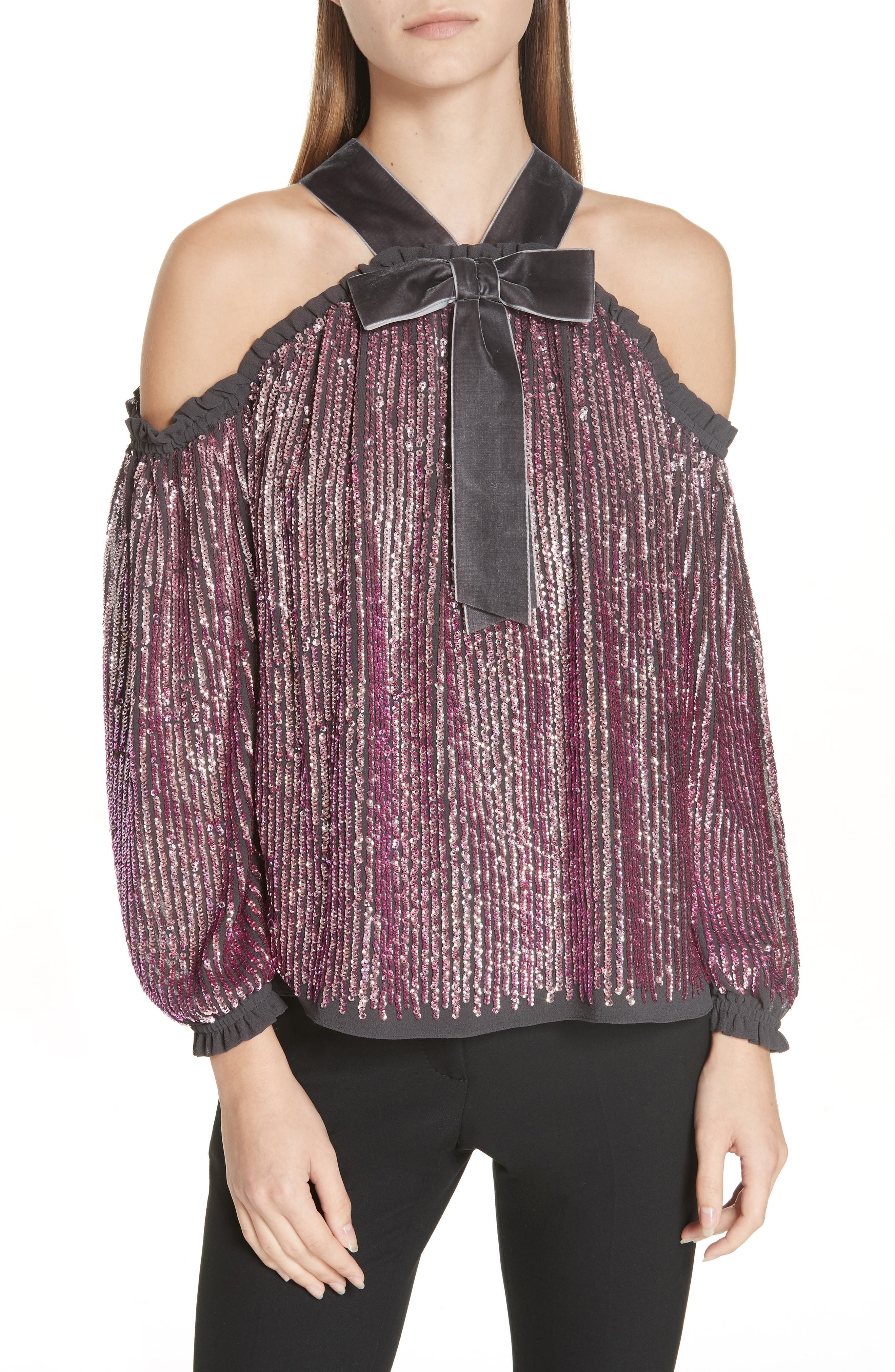 NEEDLE & THREAD, Kaleidoscope Cold Shoulder Top, Main thumbnail 1, color, GRAPHITE