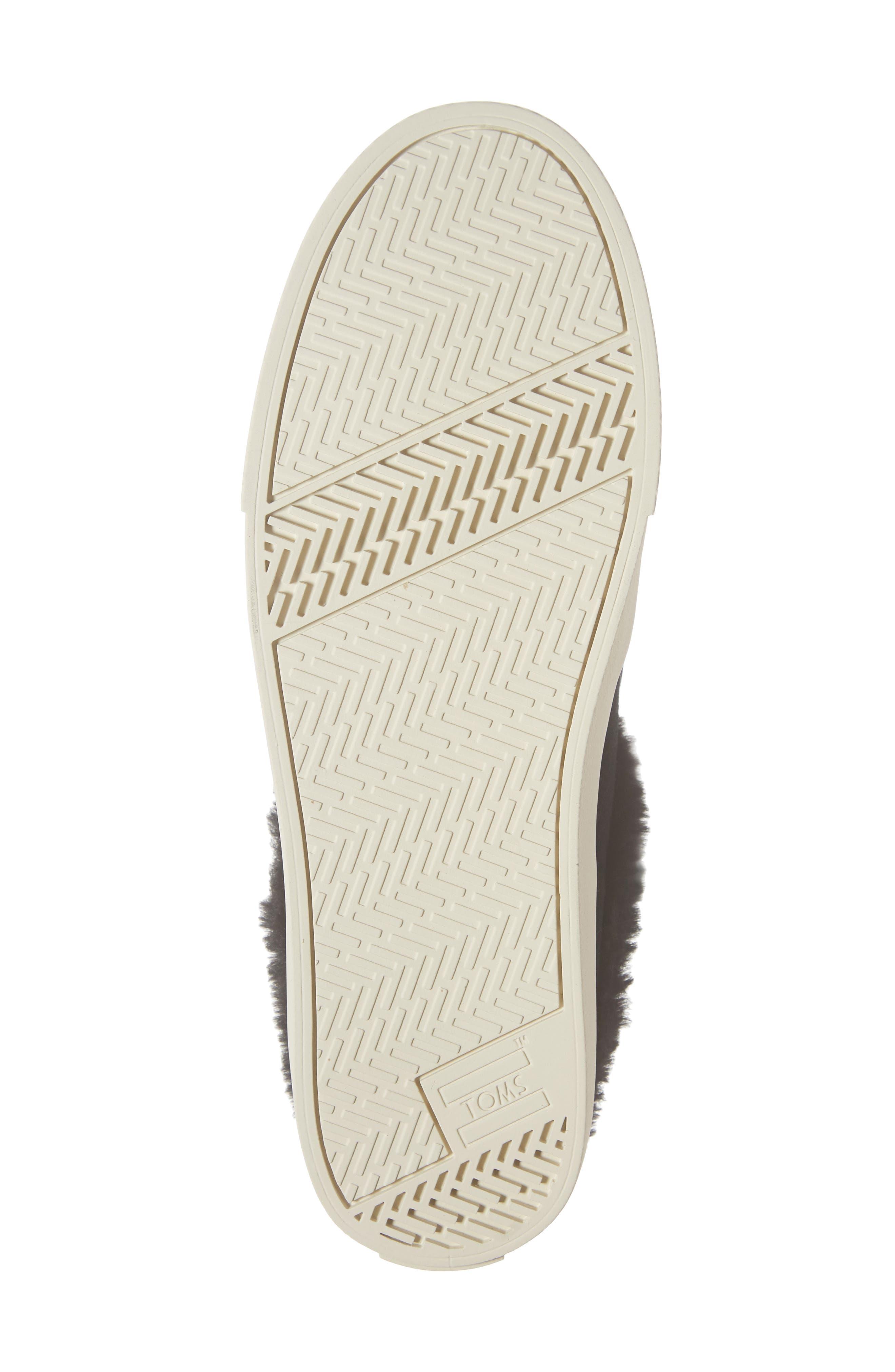 TOMS, Sunrise Faux Fur Lined Slip-On Sneaker, Alternate thumbnail 6, color, BLACK SUEDE
