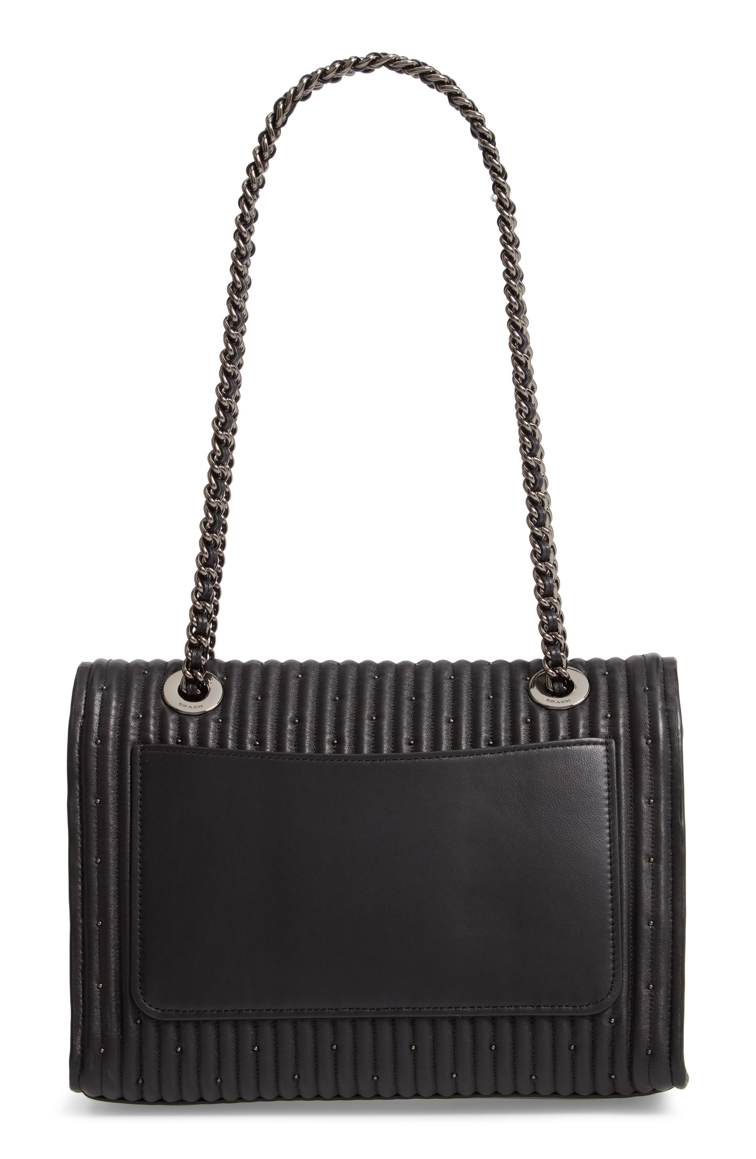 COACH, Parker Quilted Leather Shoulder Bag, Alternate thumbnail 4, color, BLACK