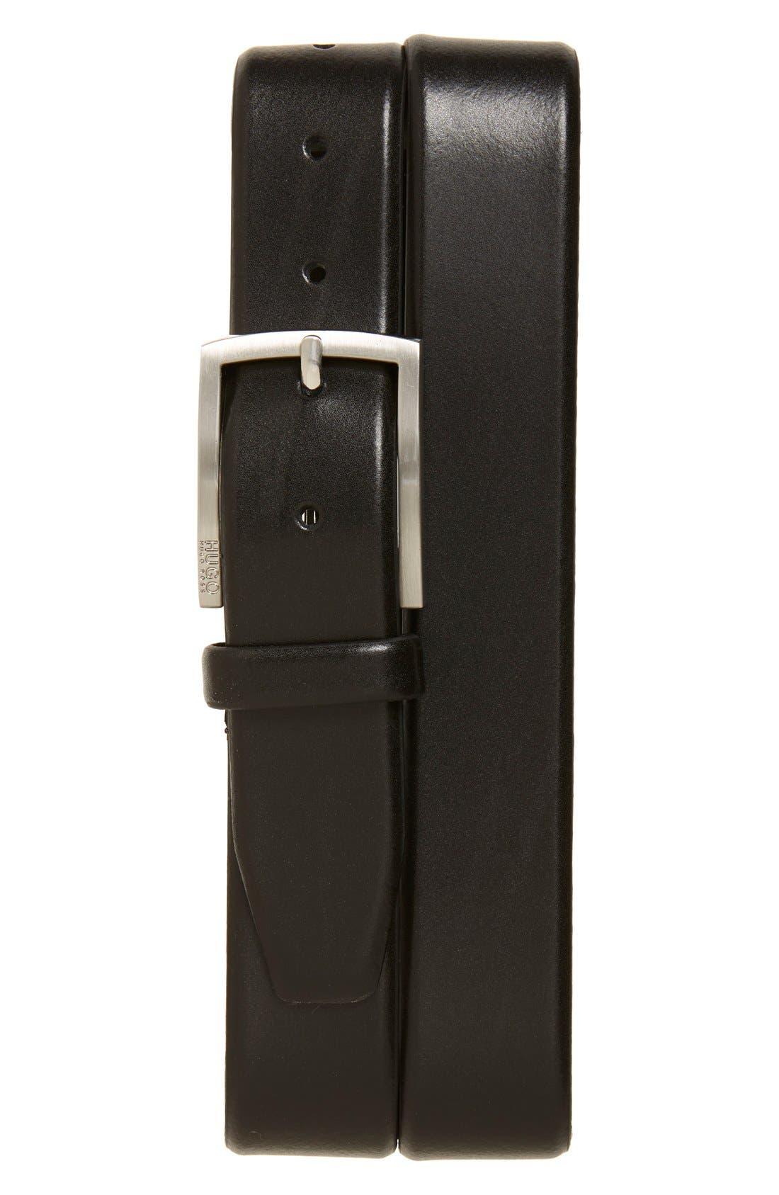 BOSS 'Barney' Leather Belt, Main, color, BLACK