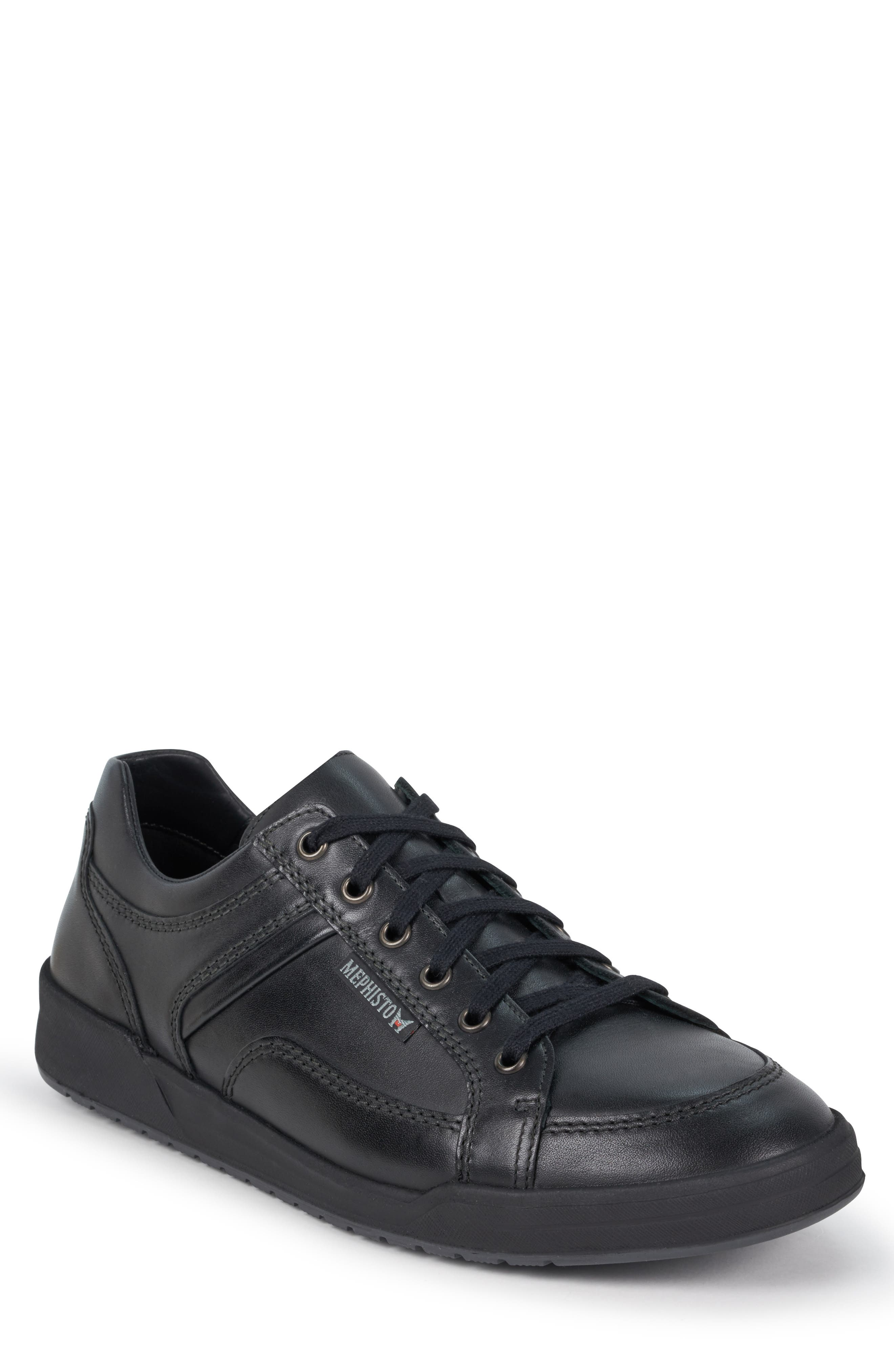 MEPHISTO, 'Rodrigo' Sneaker, Main thumbnail 1, color, BLACK/BLACK LEATHER
