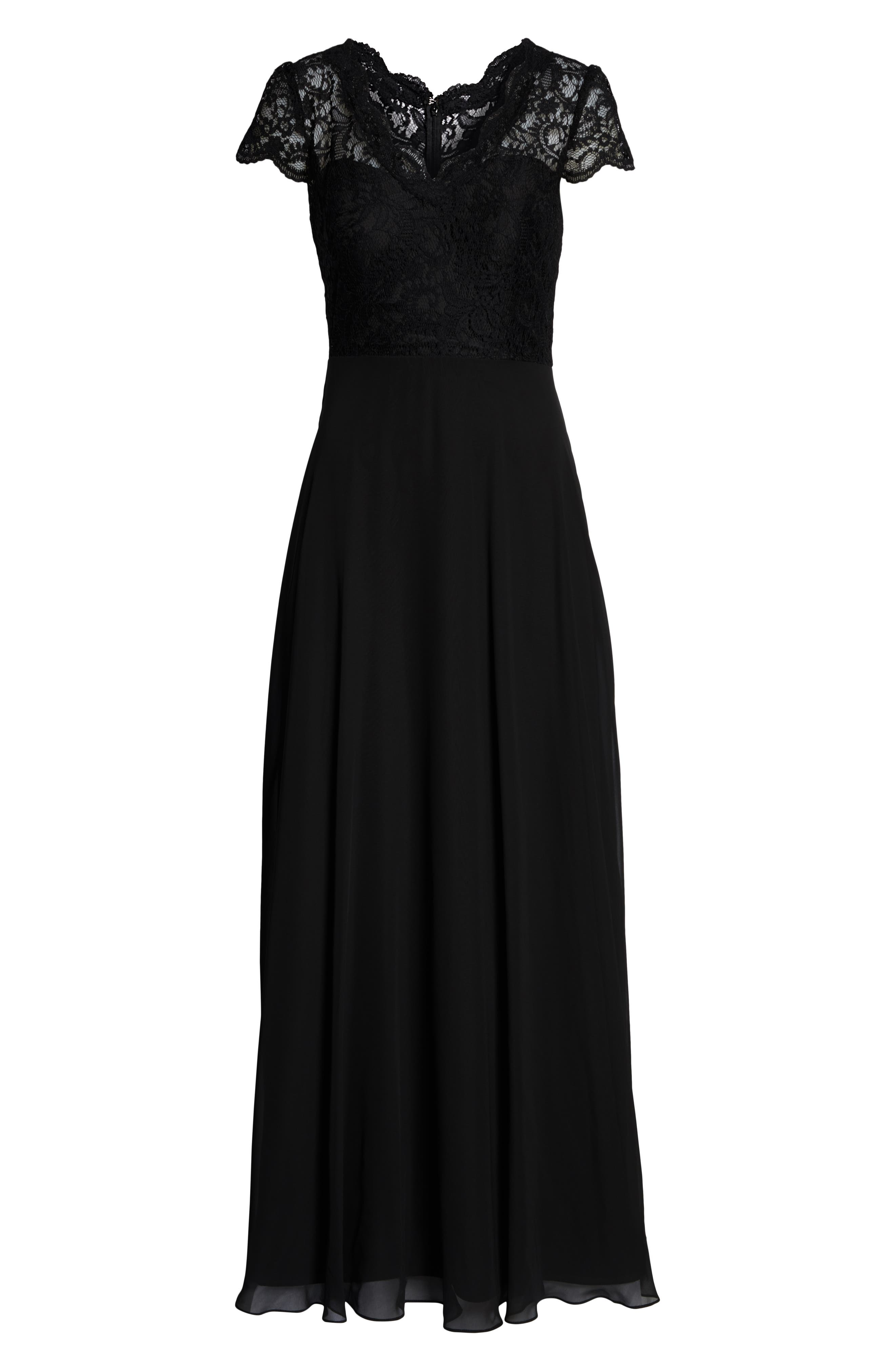 DESSY COLLECTION, Cap Sleeve Lace & Chiffon Gown, Alternate thumbnail 3, color, BLACK