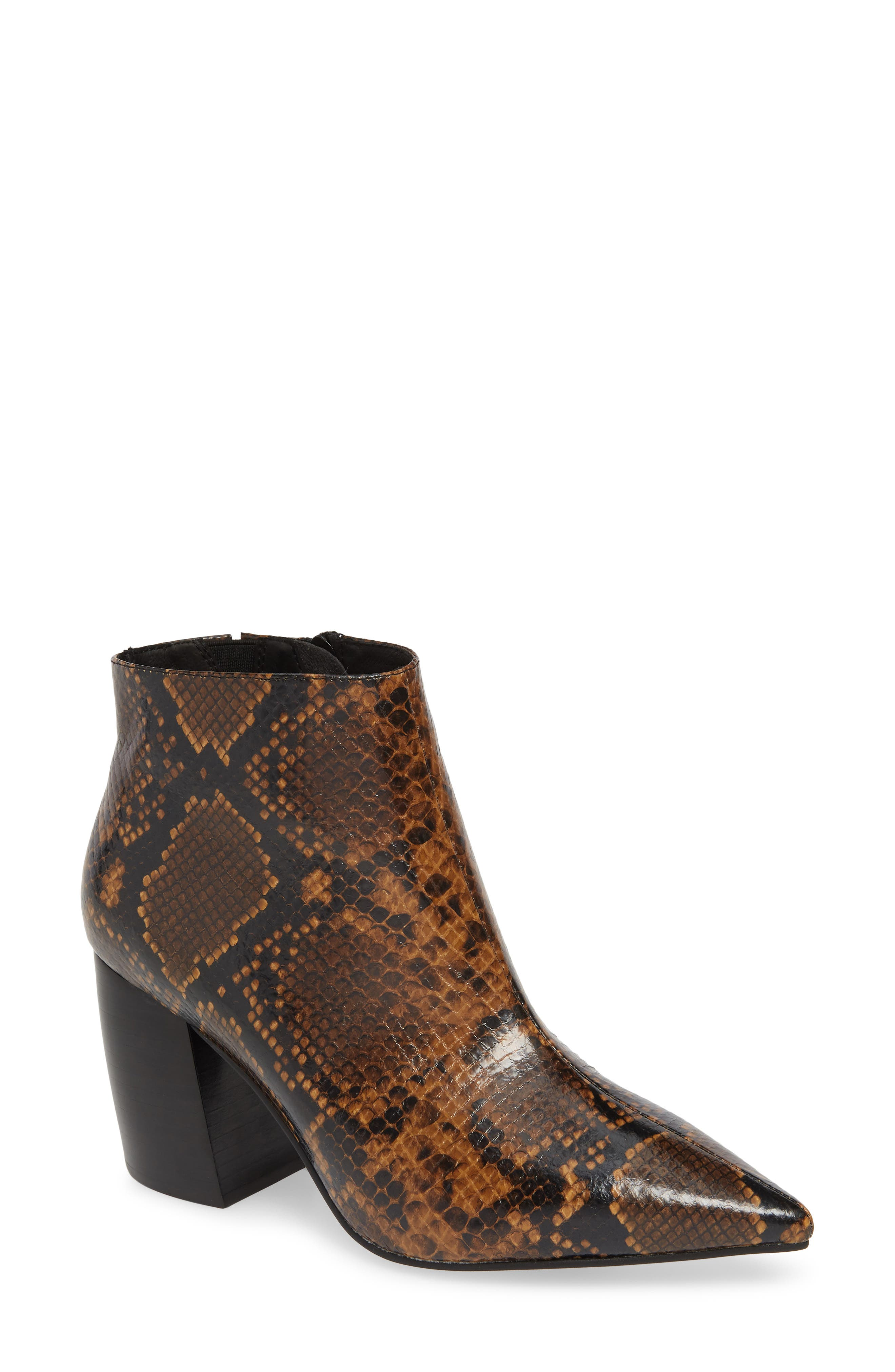 JEFFREY CAMPBELL, Final Bootie, Main thumbnail 1, color, NATURAL/ BLACK SNAKE PRINT